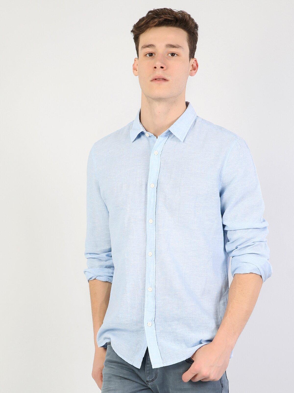 Dar Kesim Açık Mavi Uzun Kol Gömlek
