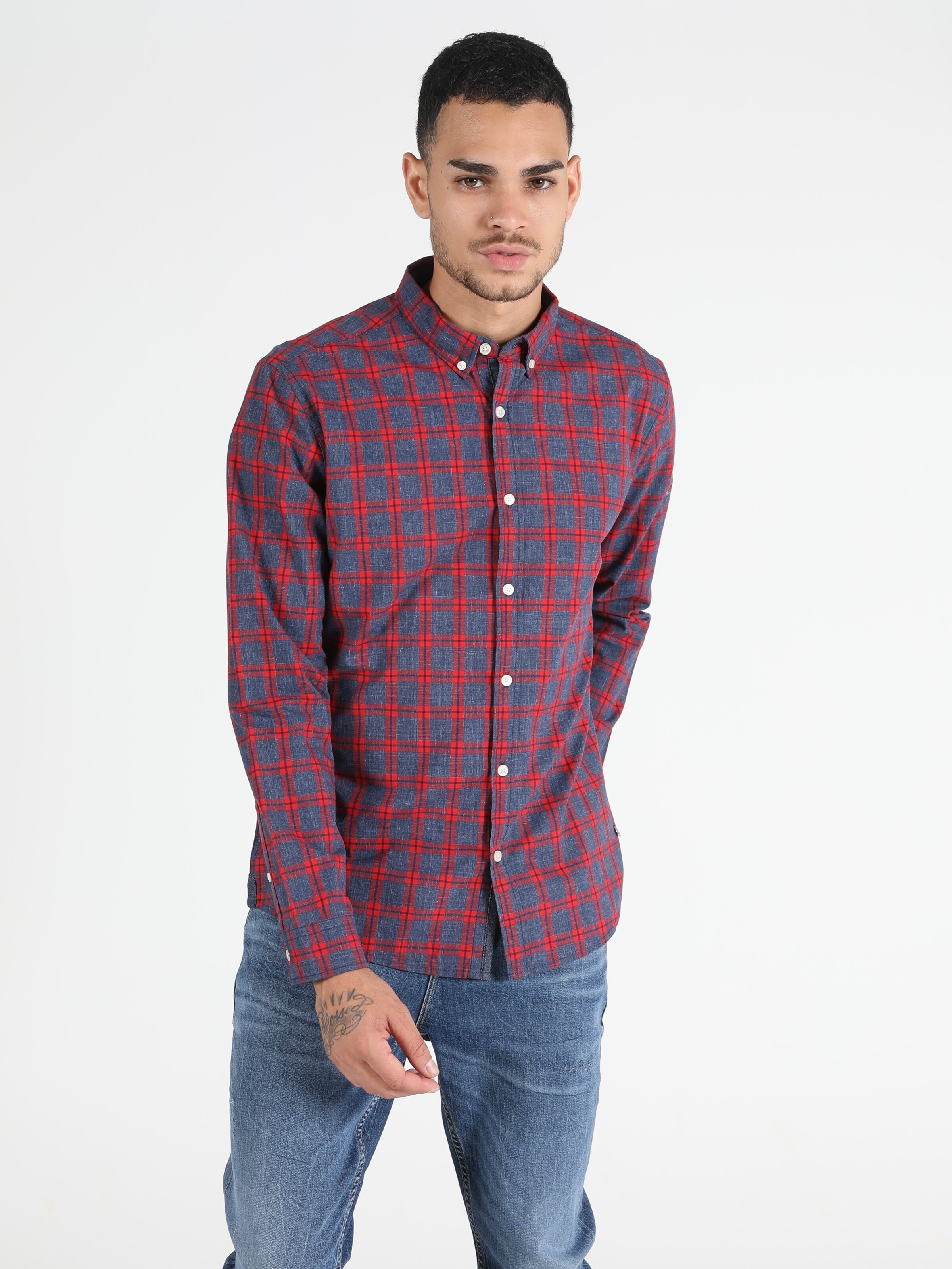 Slim Fit Kırmızı Erkek Uzun Kol Gömlek