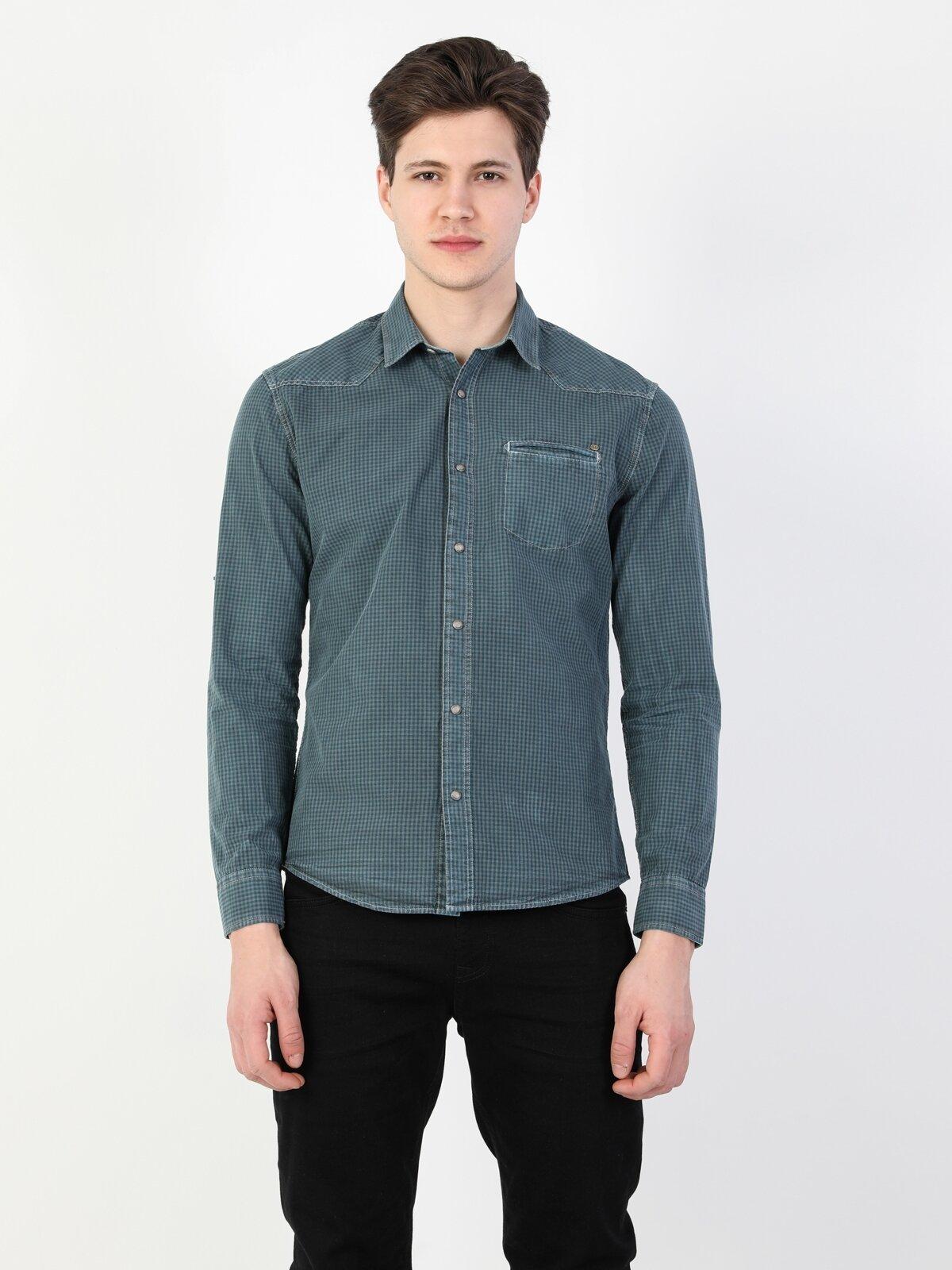 Slim Fit Kol Katlamalı  Petrol Mavisi Uzun Kol Gömlek