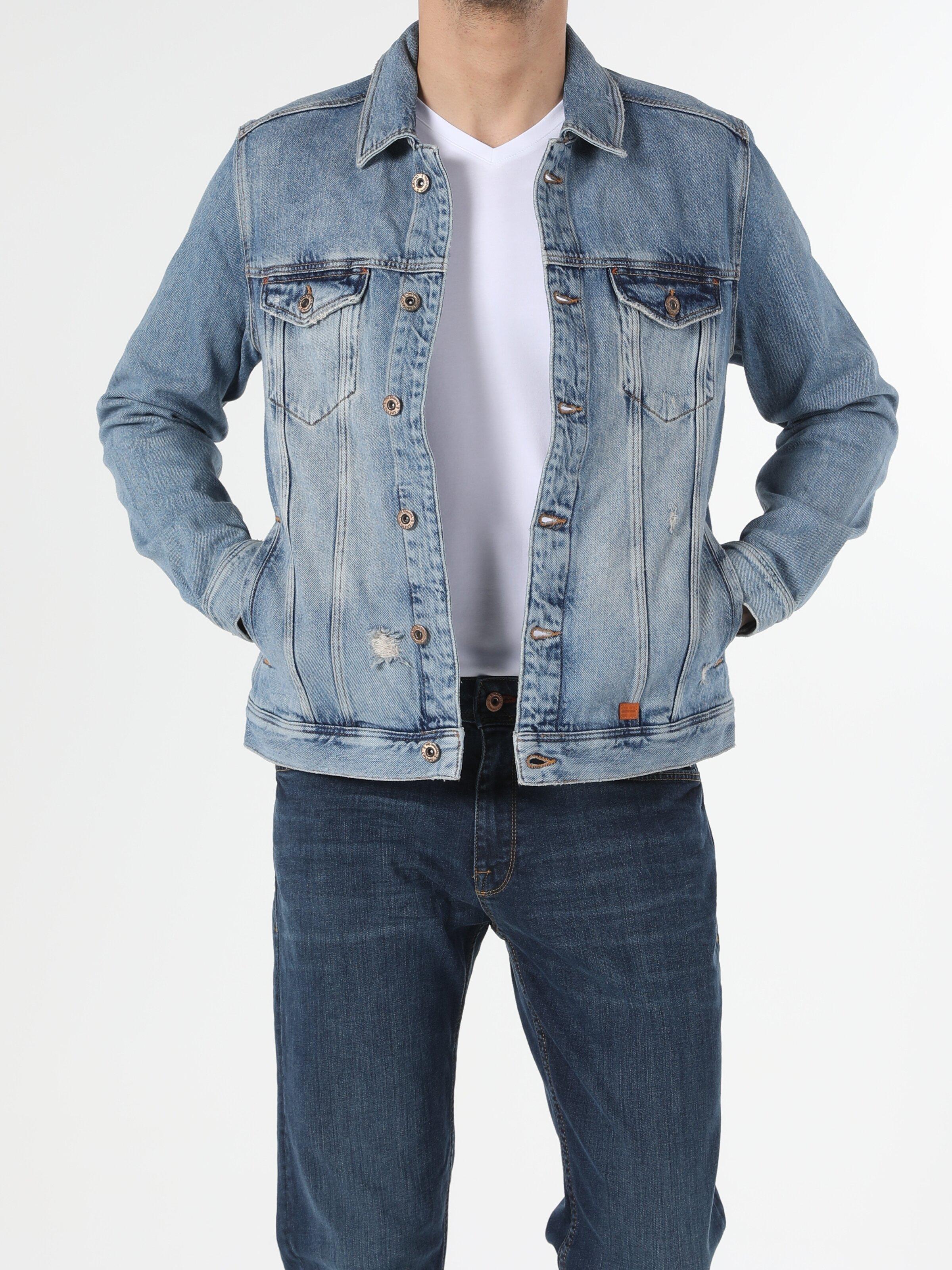 020 Mıce   Regular Fit Jean Erkek Jean Ceket