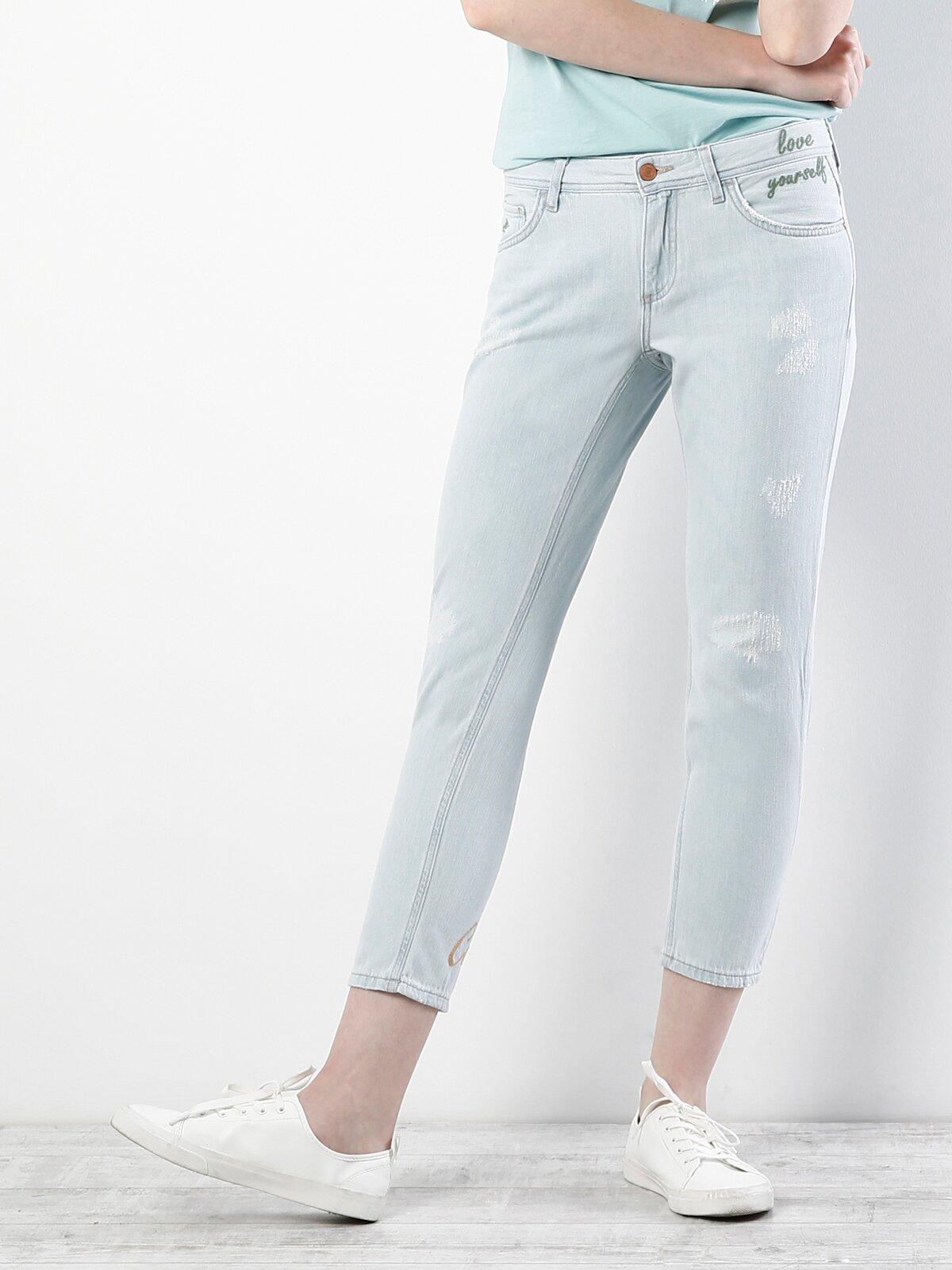 892 Alina Dar Kesim Düşük Bel Kısa Paça Mavi Jean Pantolon