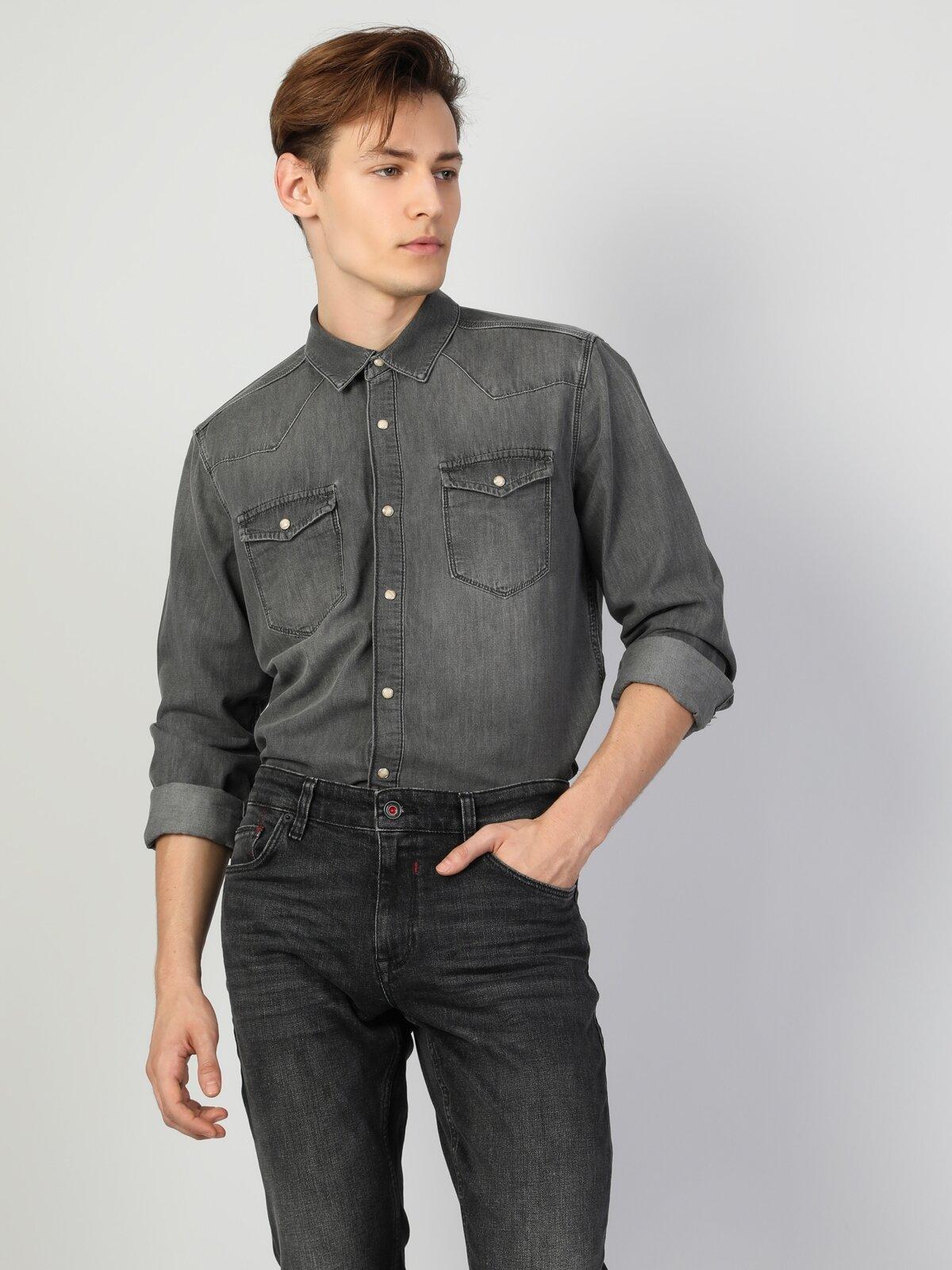 023 Josh   Slim Fit Gri Erkek Jean Gömlek U.Kol