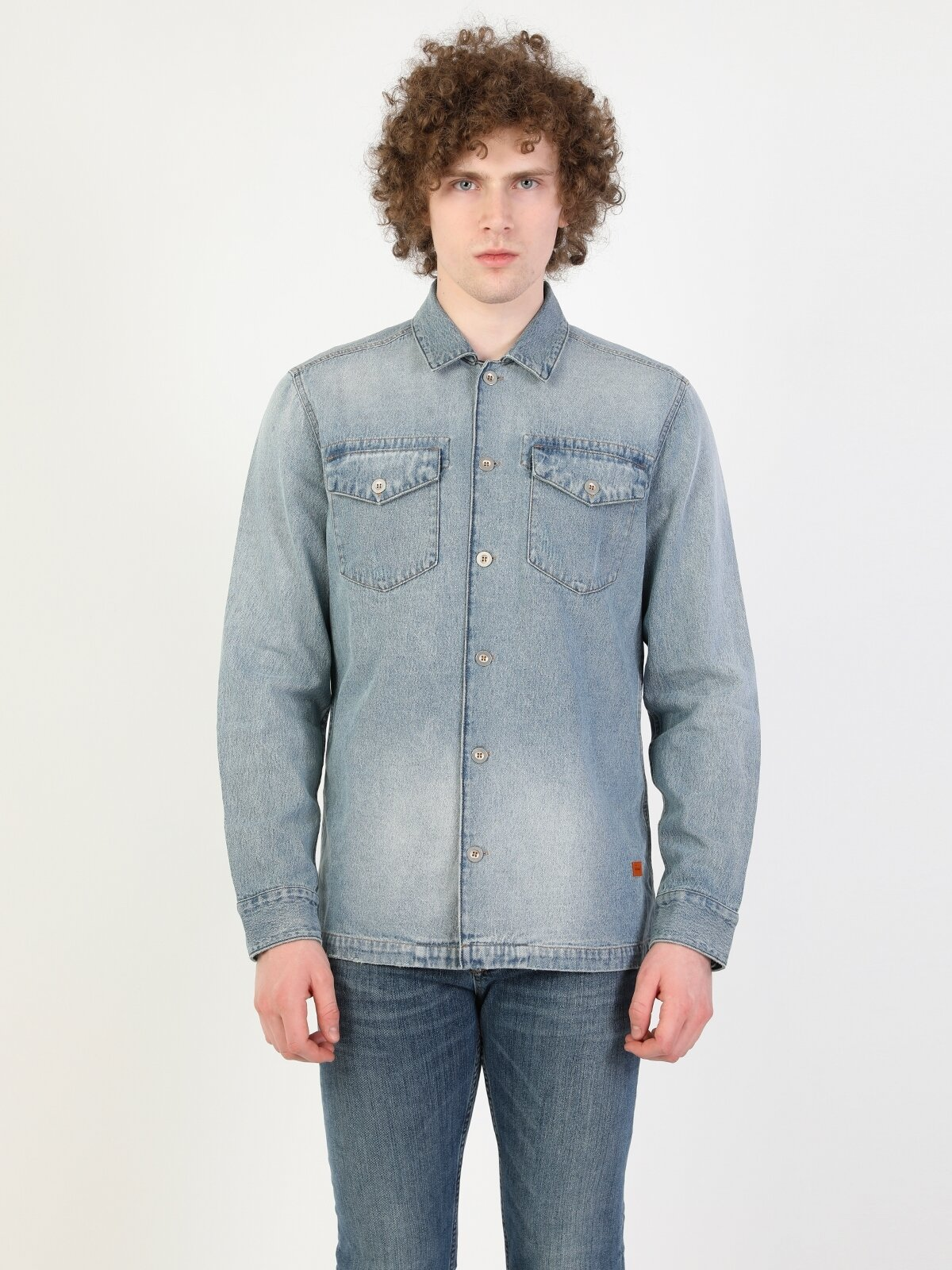 Regular Fit Standart Kol V Yaka021 Joelerkek Jean Gömlek Uzun Kol