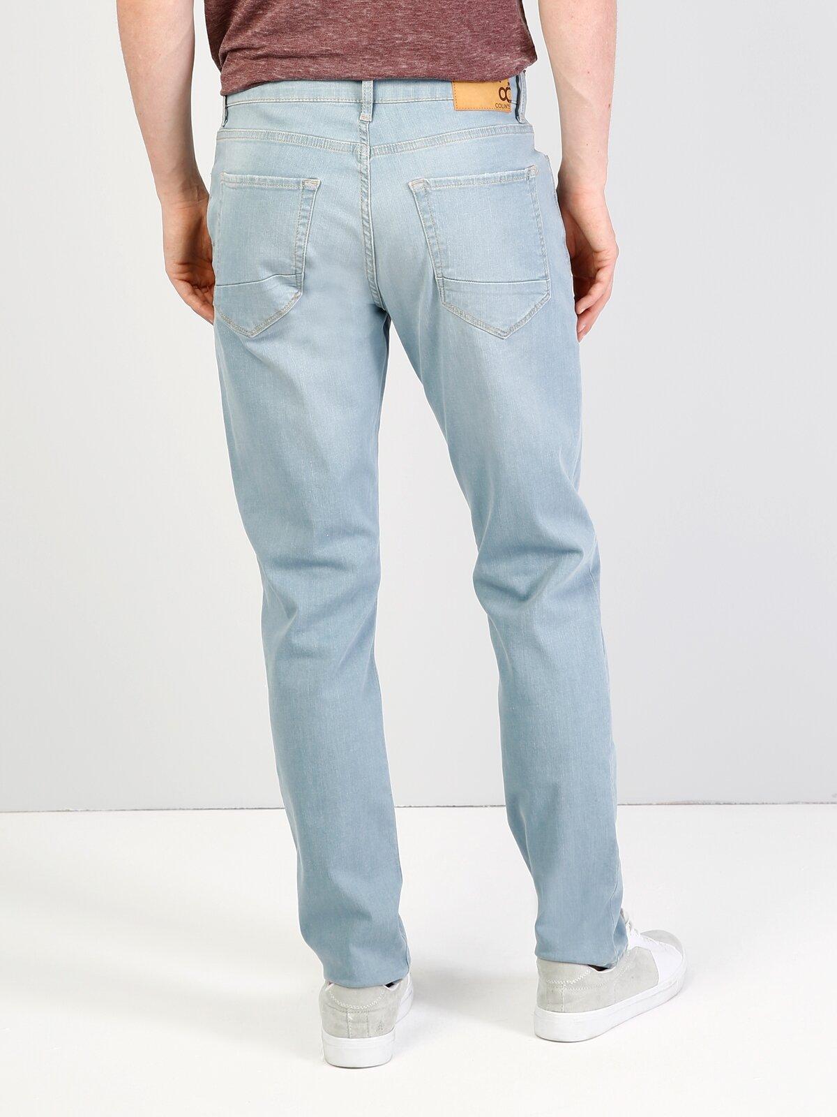 044 Karl Normal Kesim Düşük Bel Düz Paça Mavi  Erkek Jean Pantolon