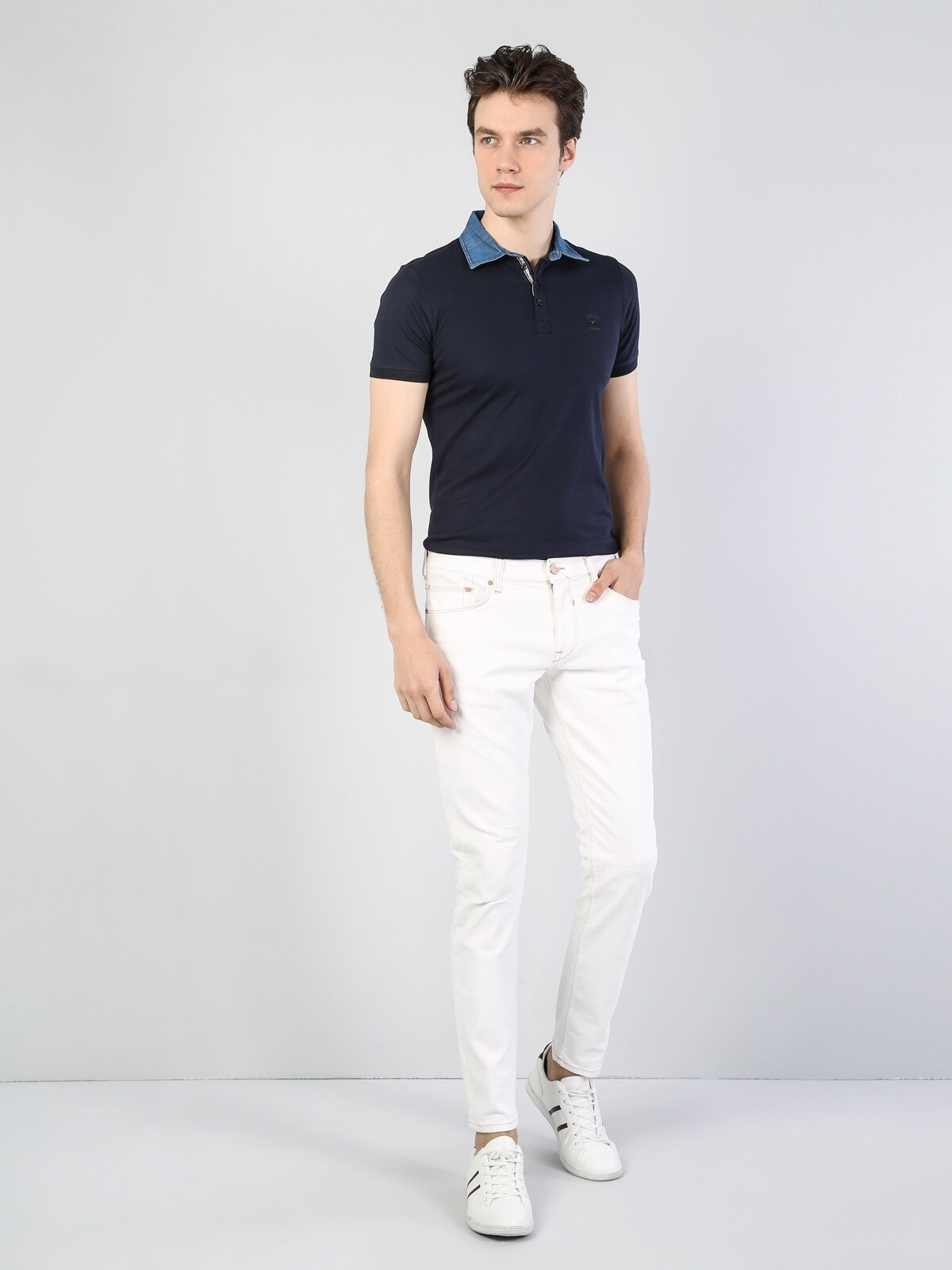 041 Danny Slim Fit Düşük Bel Dar Paça Beyaz Jean Pantolon