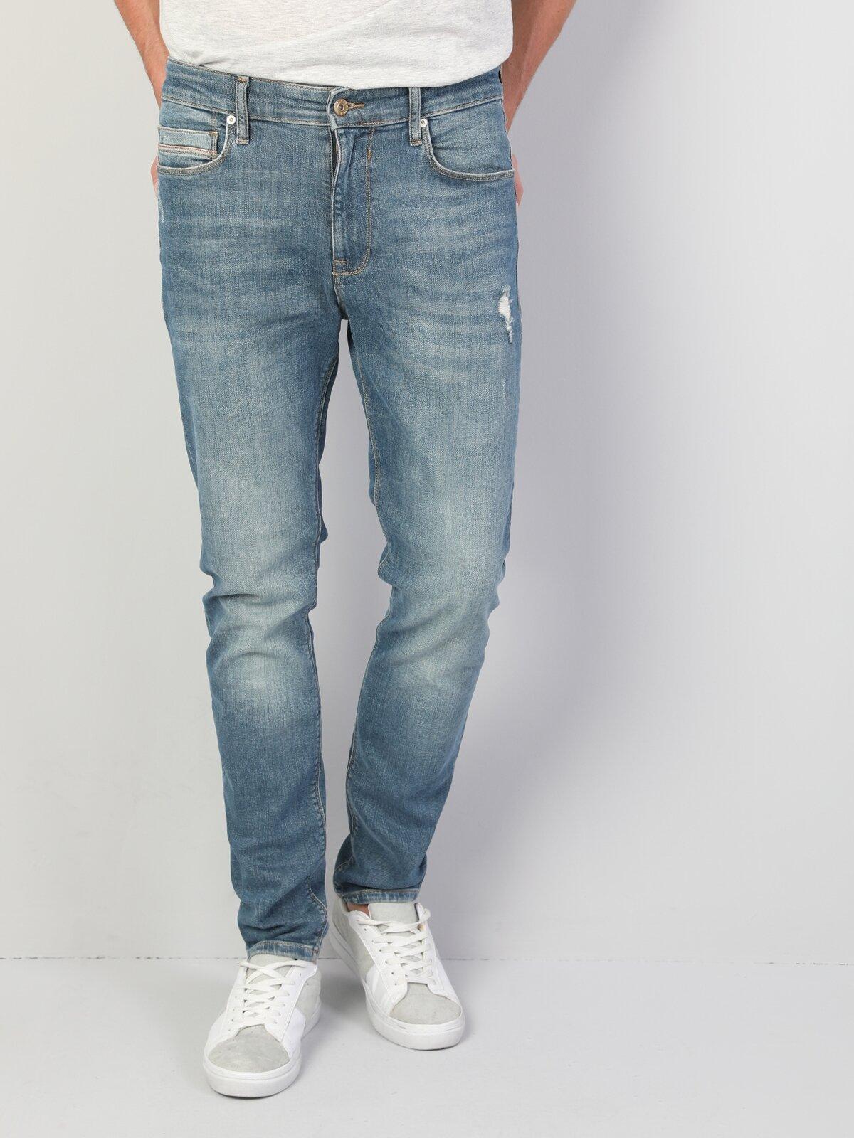 035 Ryan Dar Kesim Mavi Erkek Denim Pantolon