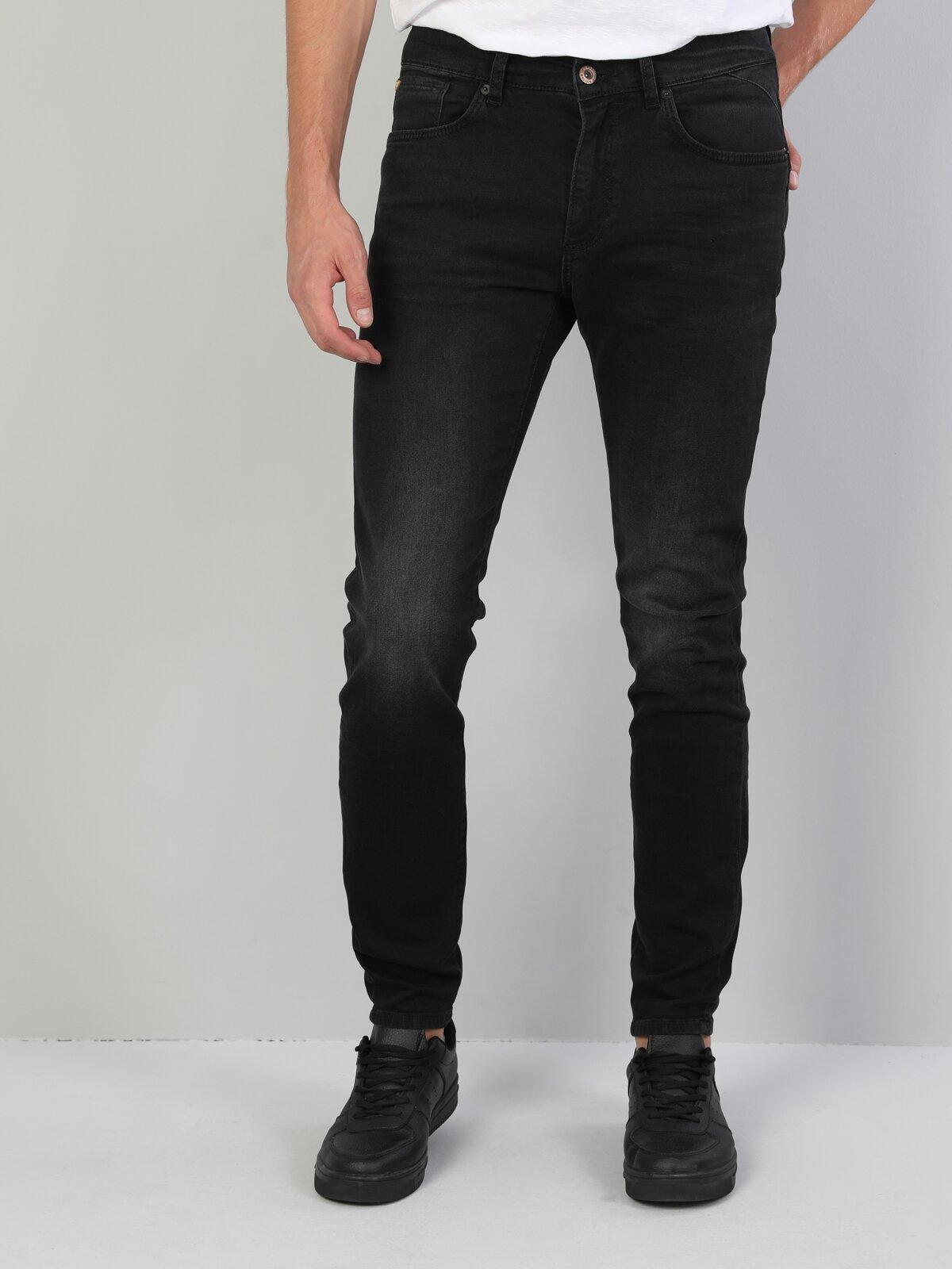 040 Alex Süper Dar Kesim Siyah Erkek Denim Pantolon