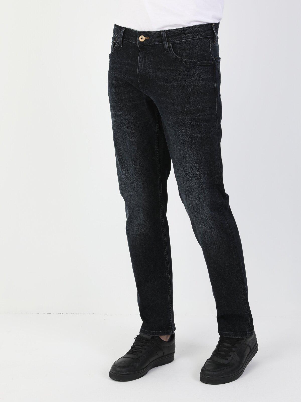 45 David Normal Kesim Normal Bel Düz Paça Erkek Siyah Jean Pantolon