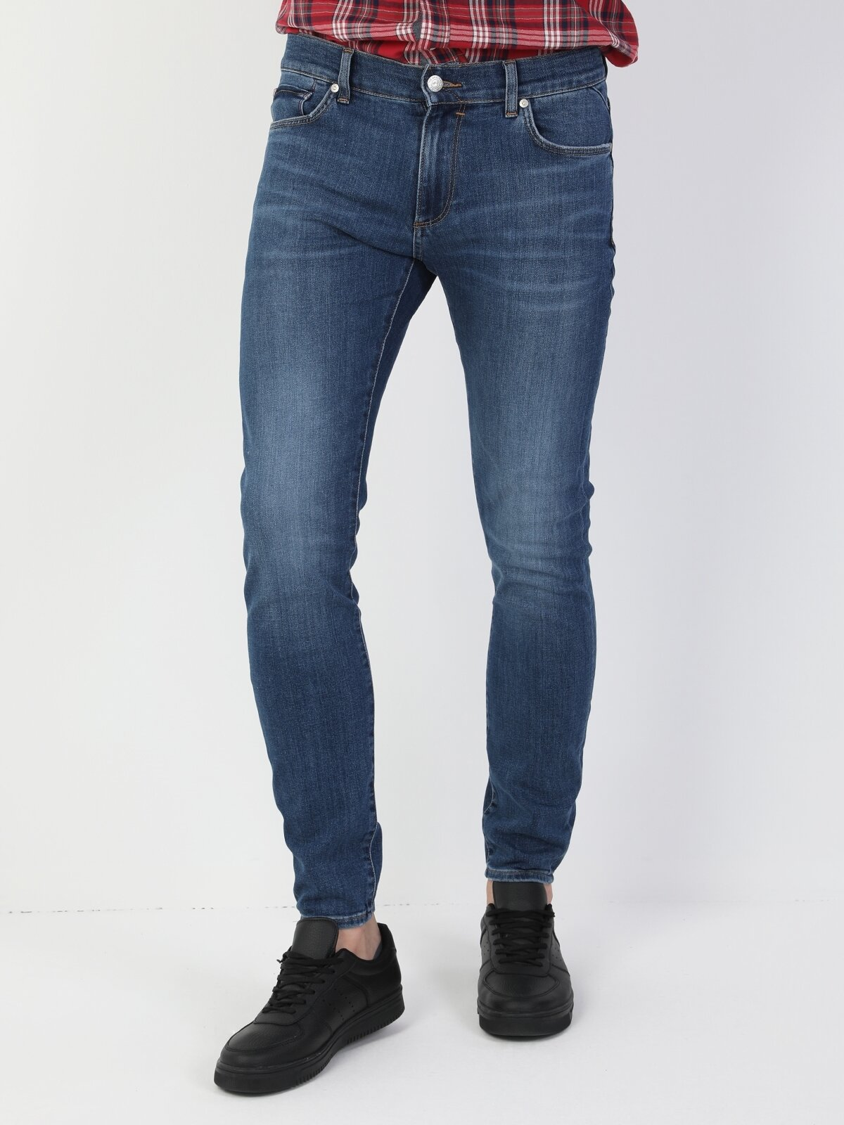 40 Alex Süper Dar Kesim Düşük Bel Süper Dar Paça Erkek Mavi Jean Pantolon