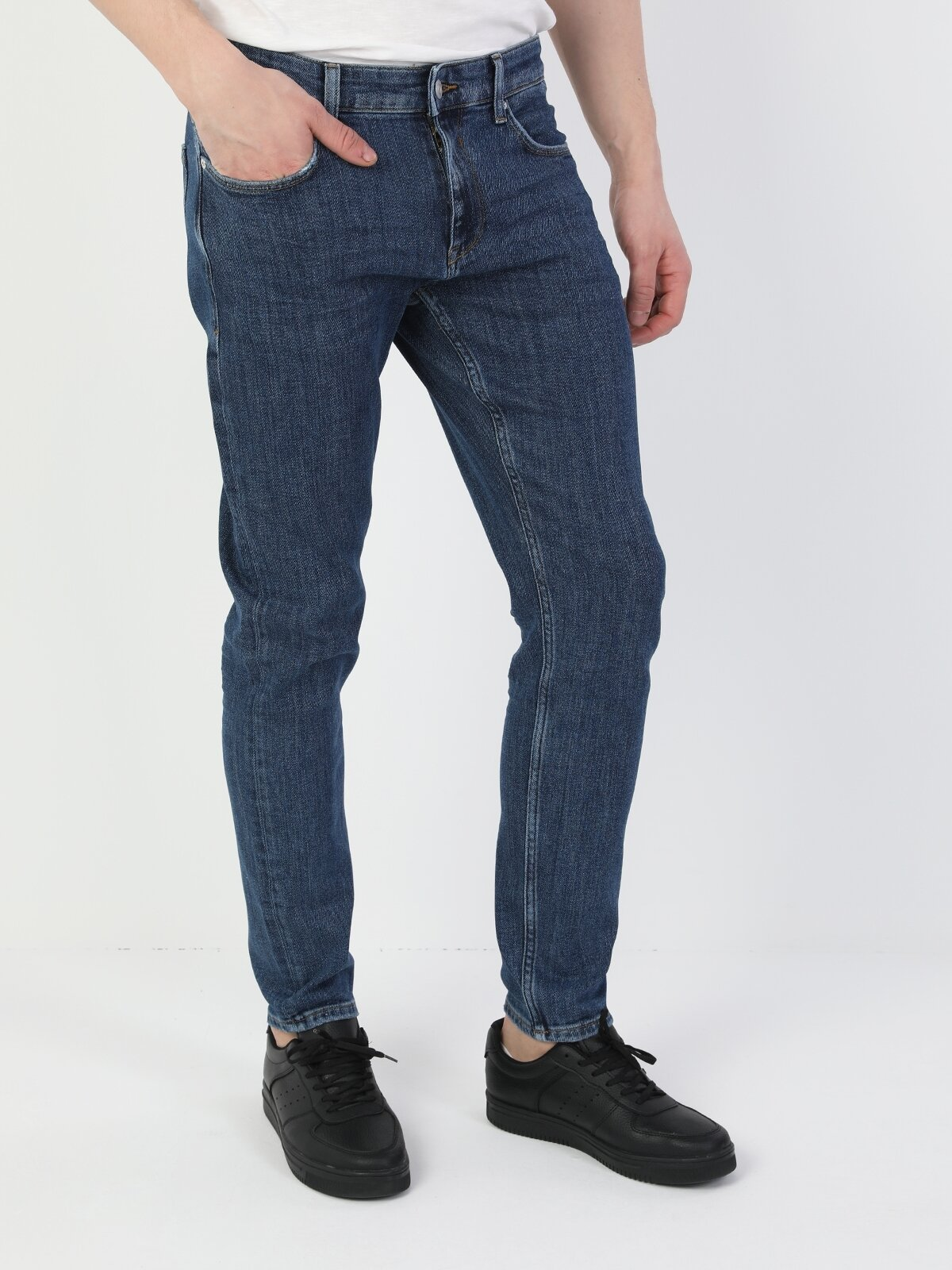 041 Danny Slim Fit Düşük Bel Slim Leg  Erkek İndigo Jean Pantolon