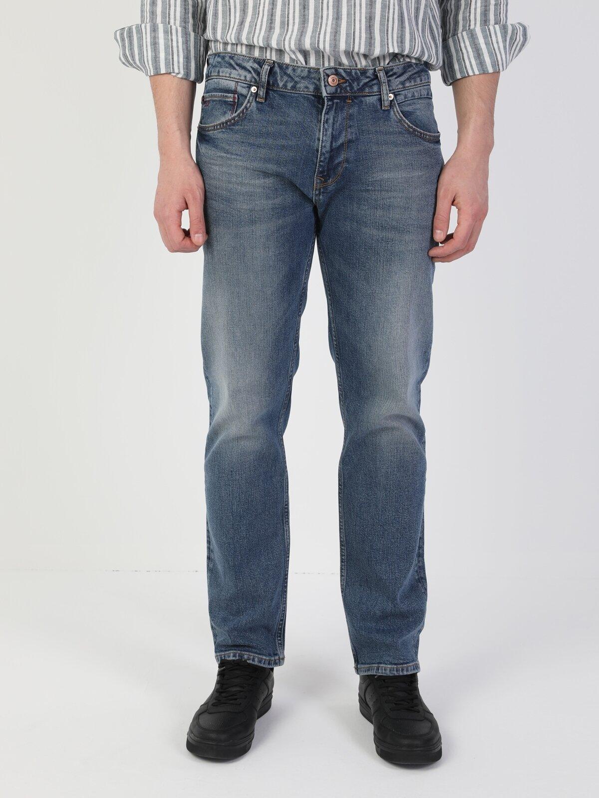 045 David Normal Kesim Normal Bel Düz Paça Mavi Erkek Pantolon