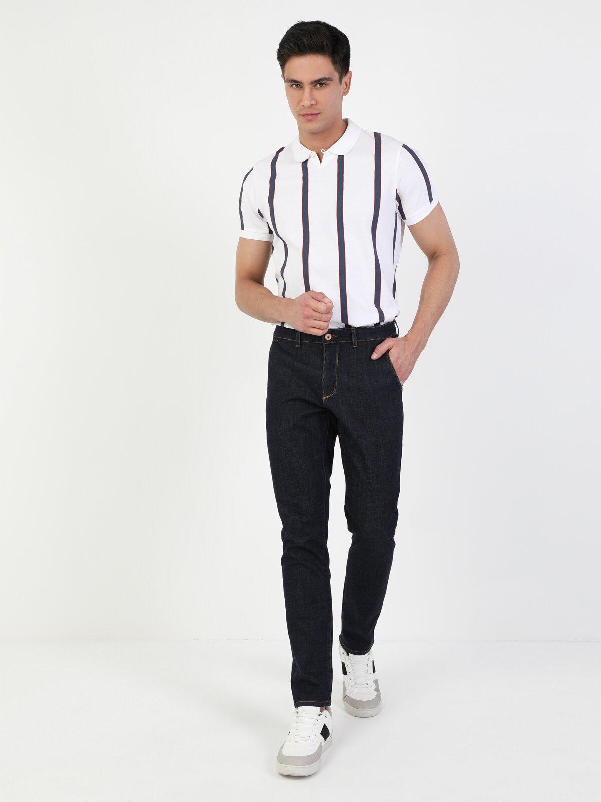034 Denım Chıno Slim Fit Düşük Bel Slim Leg  Erkek  Jean Pantolon