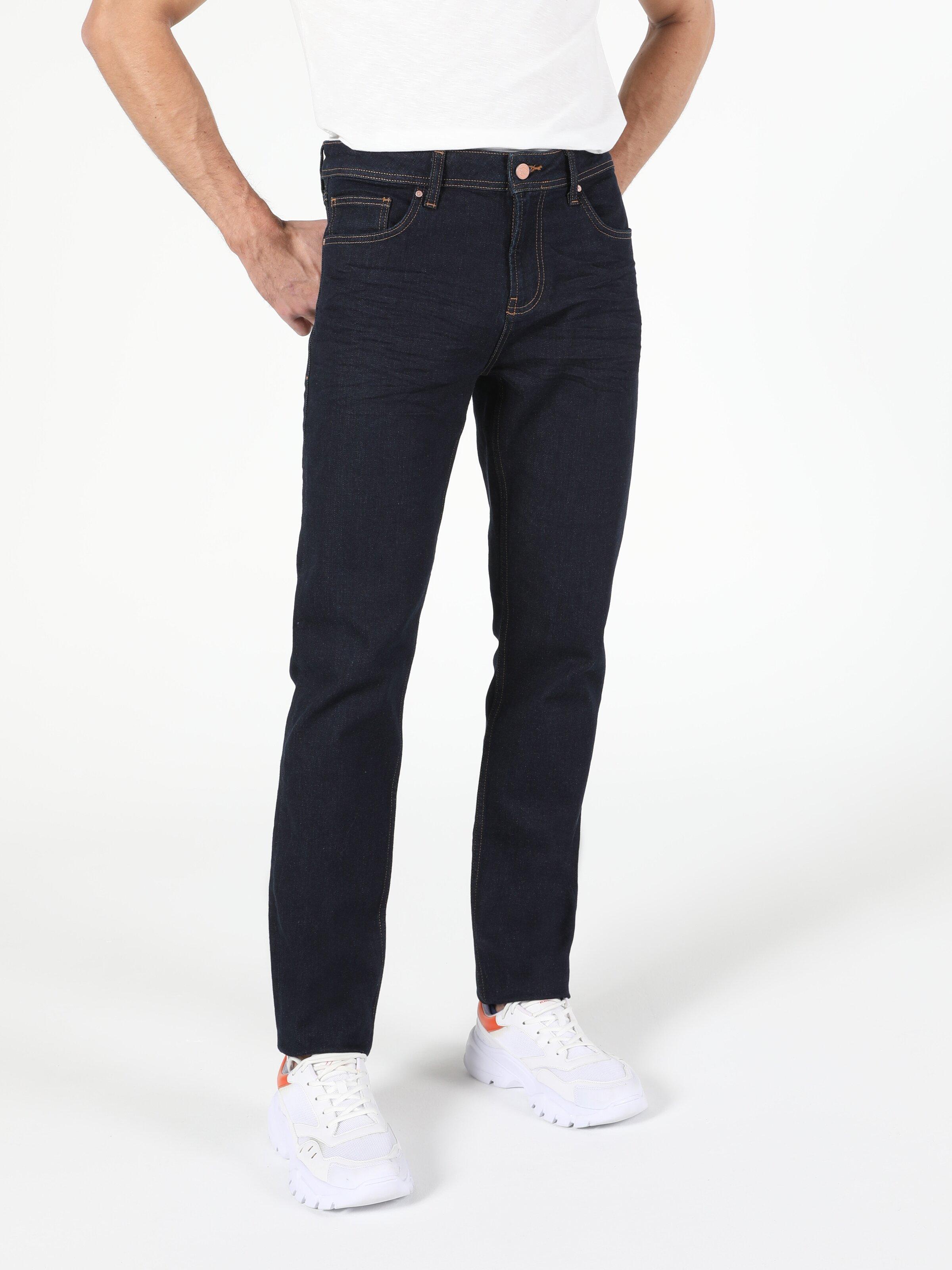 Düşük Bel Düz Paça Straight Fit Erkek Lacivert Jean Pantolon
