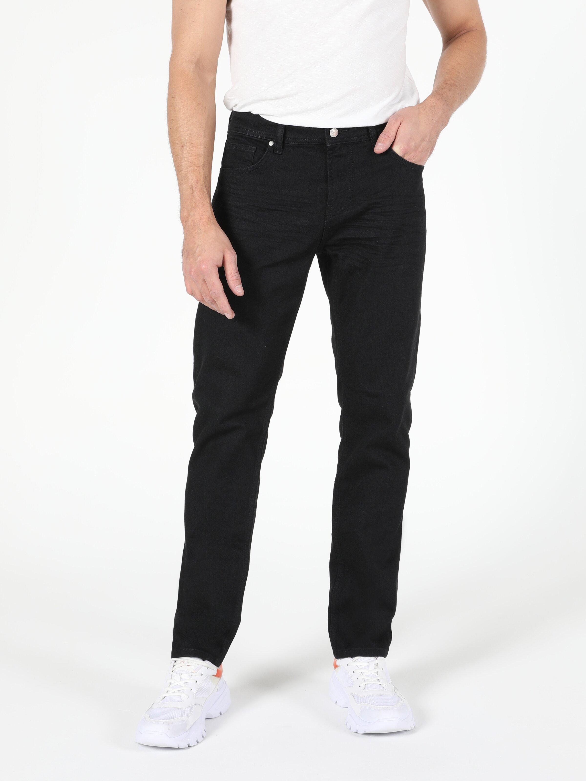 Düşük Bel Düz Paça Straight Fit Erkek Siyah Jean Pantolon