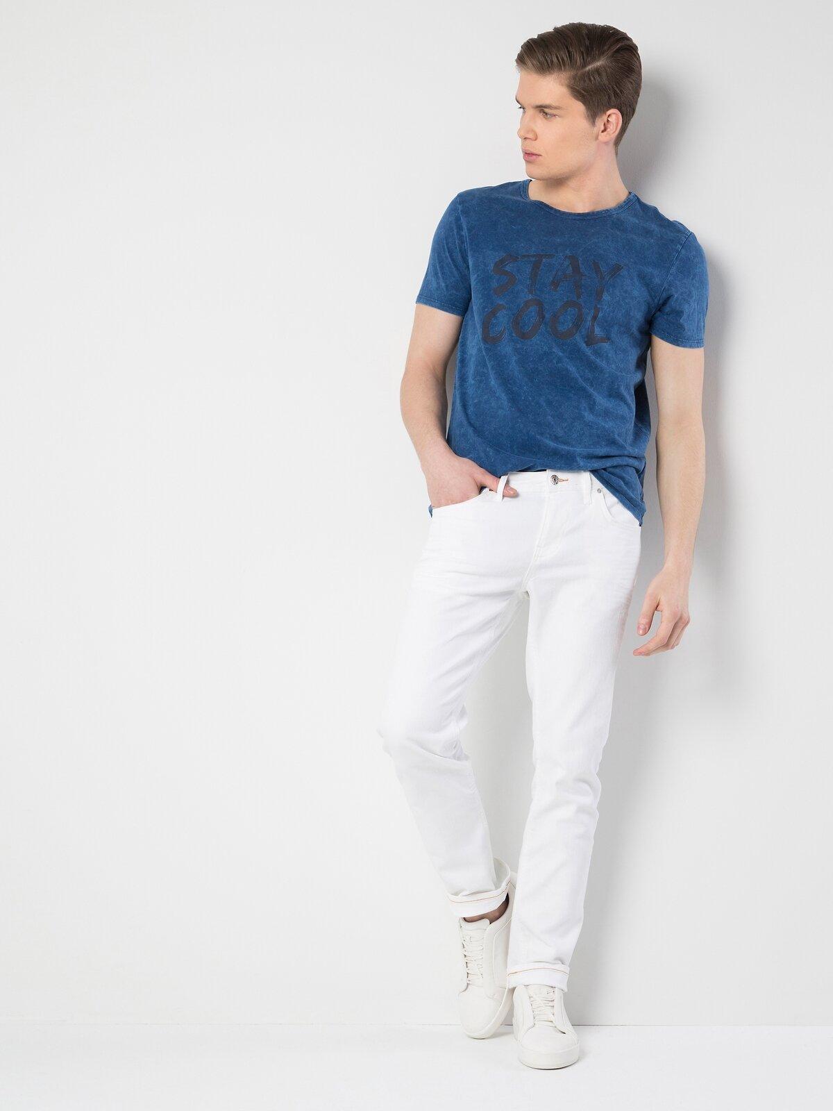 044 Karl Normal Kesim Düşük Bel Düz Paça Beyaz Jean Pantolon