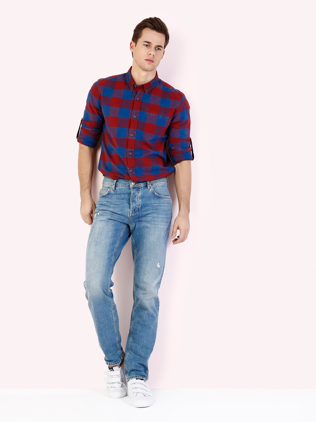 067 Jack Normal Kesim Orta Bel Tapered Leg Mavi Jean Pantolon