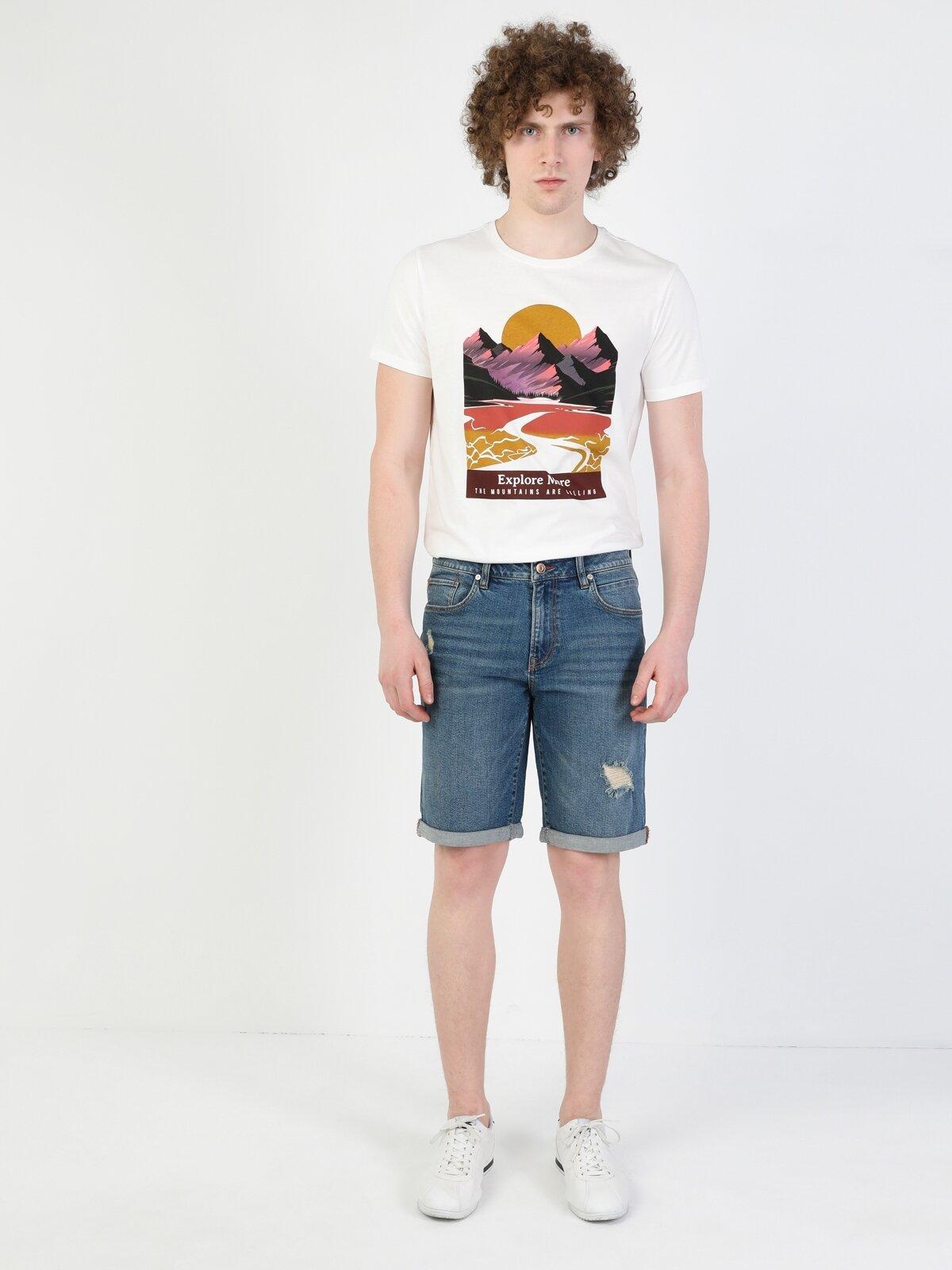 045 Davıd Orta Bel Orta Regular Fit Jean Erkek Jean Şort