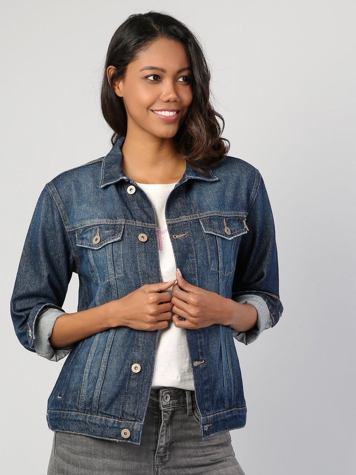 Regular Fit  Kadın İndigo Ceket