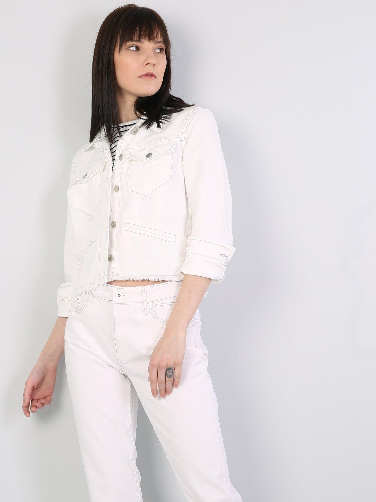 Denim Dar Kesim Kadın Jean Ceket