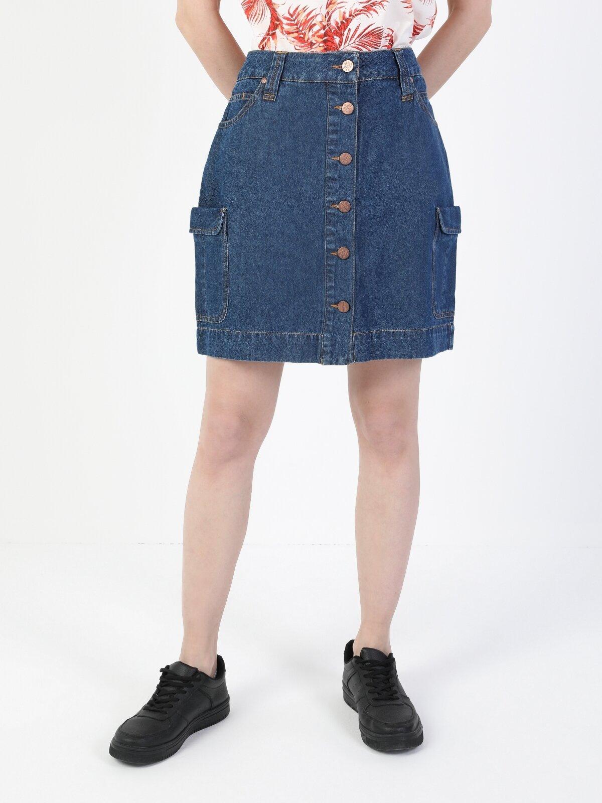 Orta Slim Fit Jean Kadın Jean Etek