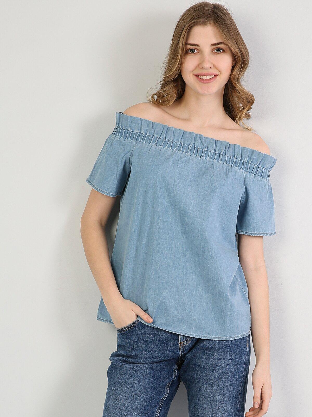 Mavi Kadın Gömlek K.kol