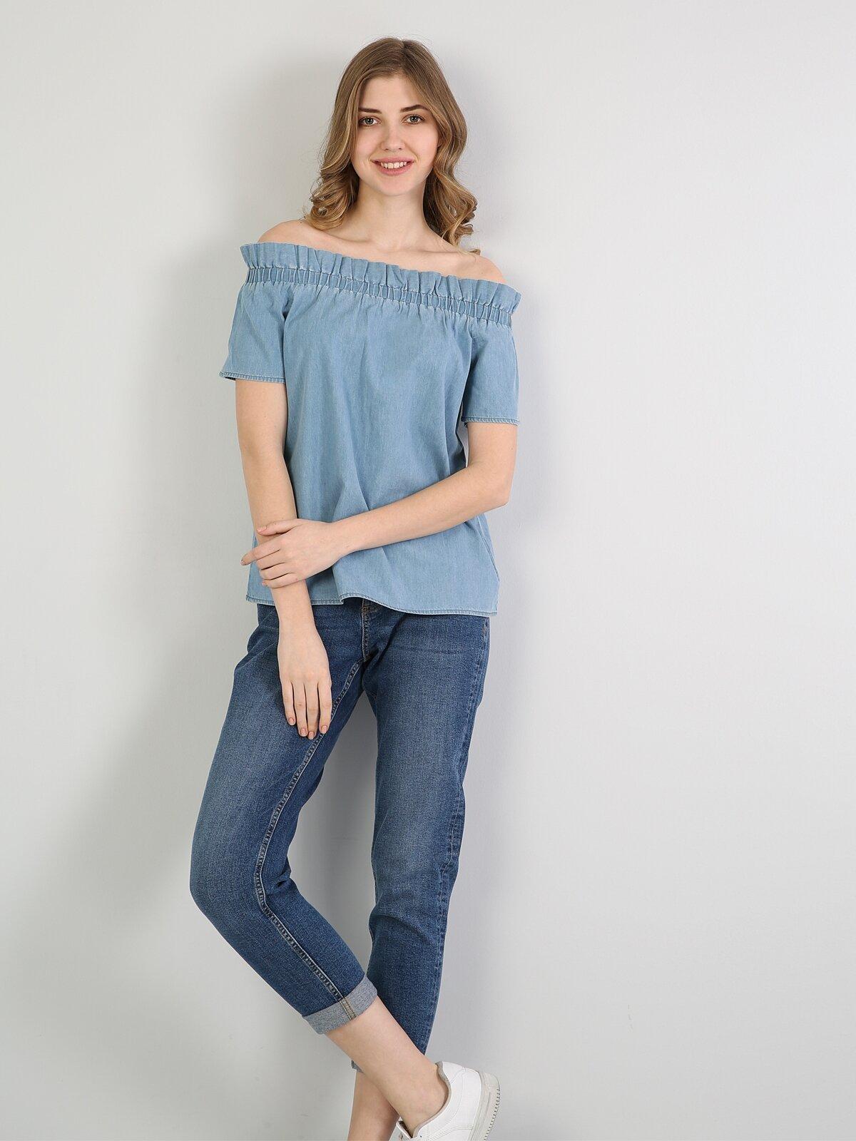 Regular Fit Mavi Kadın Jean Gömlek K.Kol