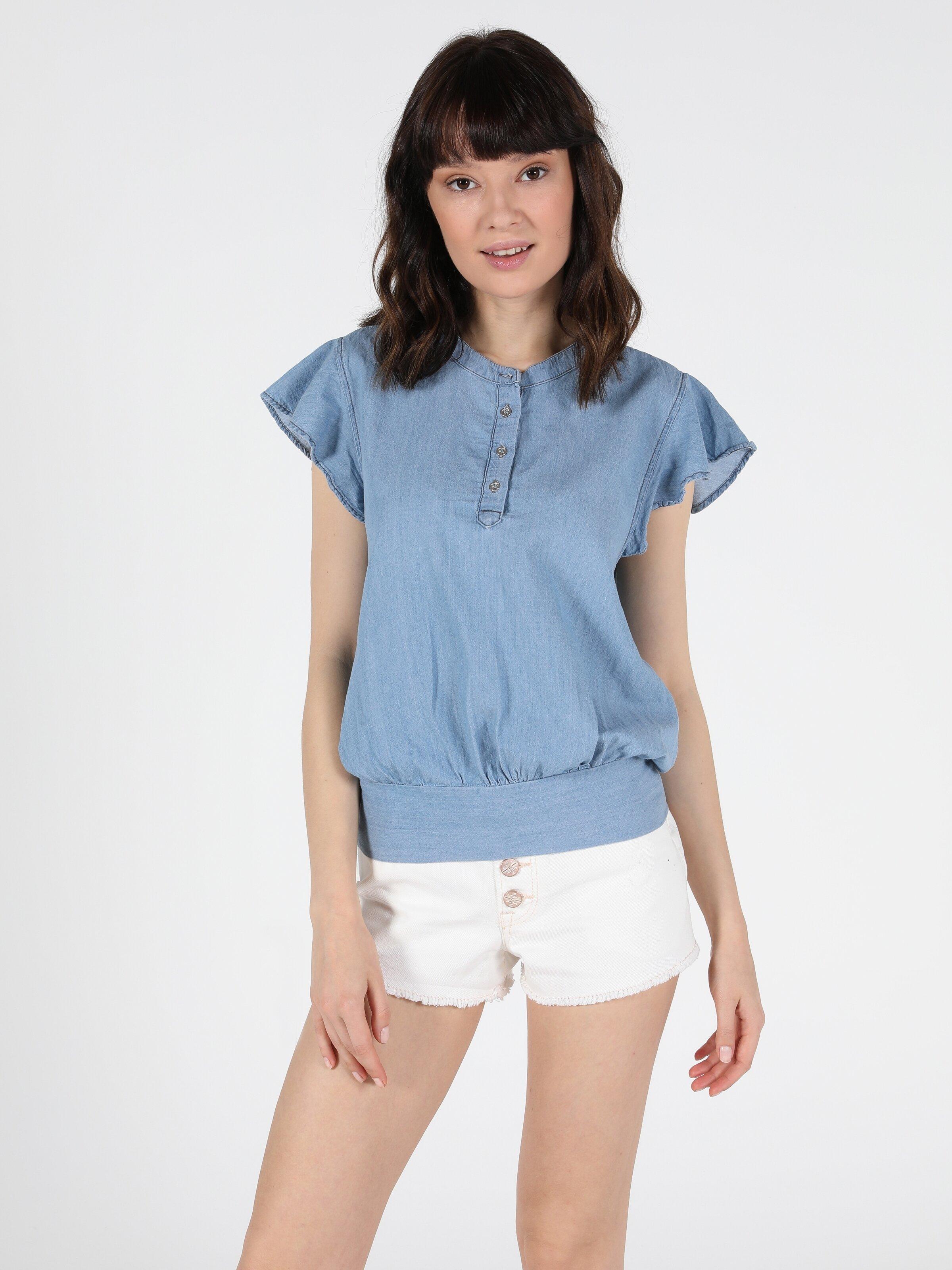 Regular Fit Jean Kadın Jean Gömlek K.Kol