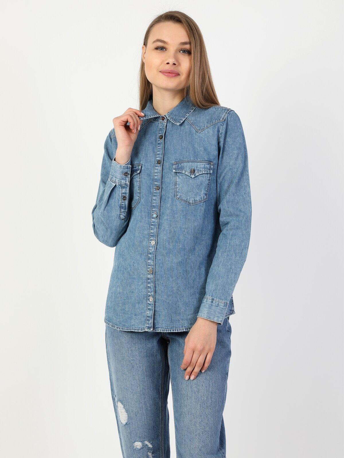 Slim Fit Jean Kadın Jean Gömlek U.Kol
