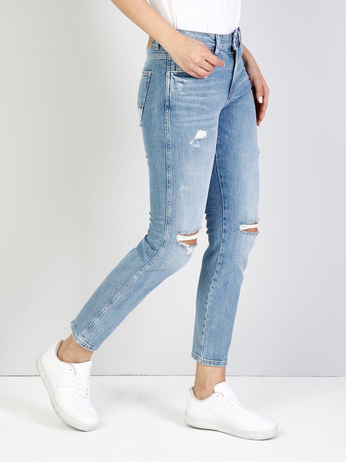 891 Maya Dar Kesim Orta Bel Tapered Leg Mavi Jean Pantolon