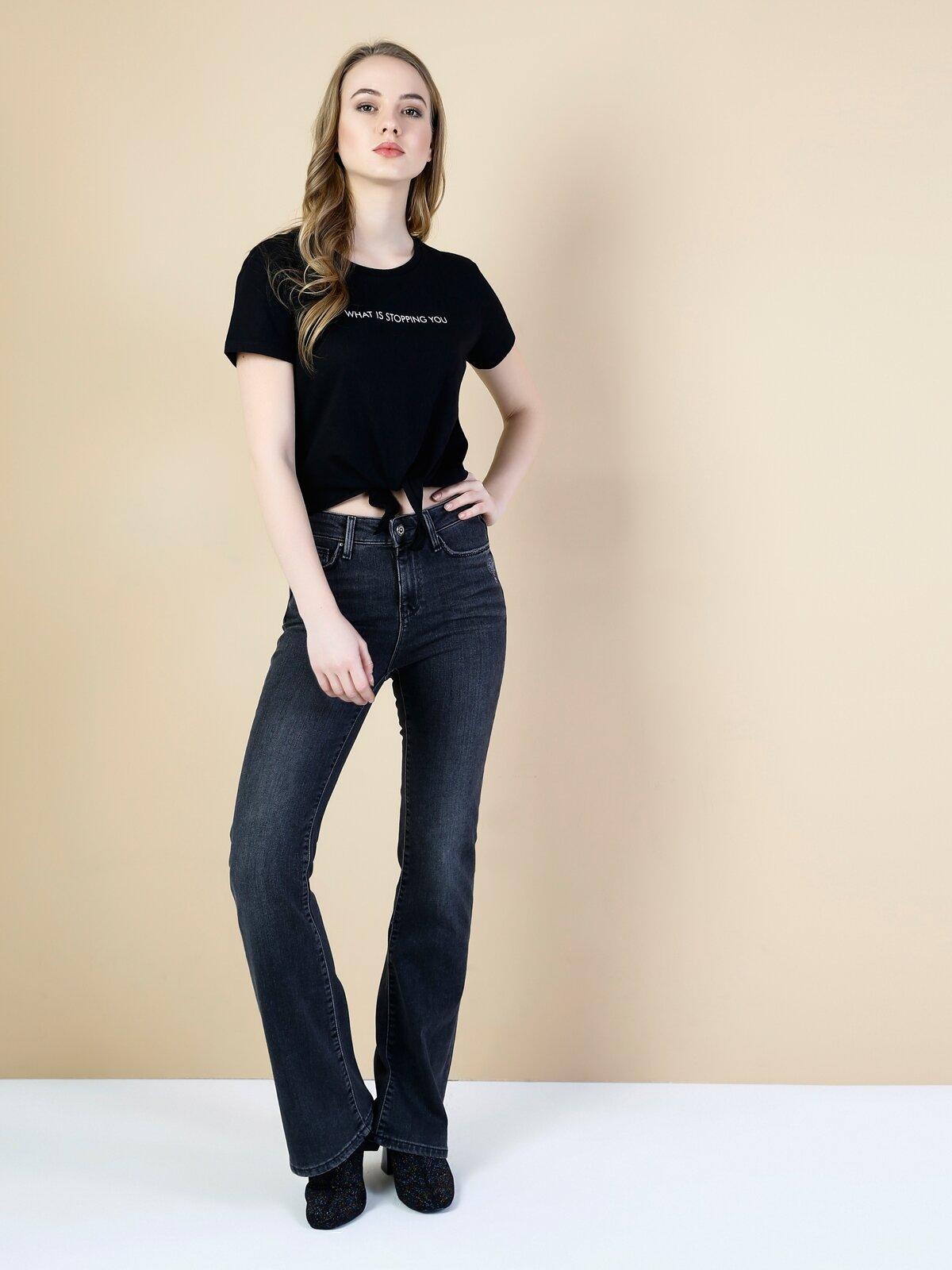 795 Dila Normal Kesim Yüksek Bel Flare Siyah Jean Pantolon