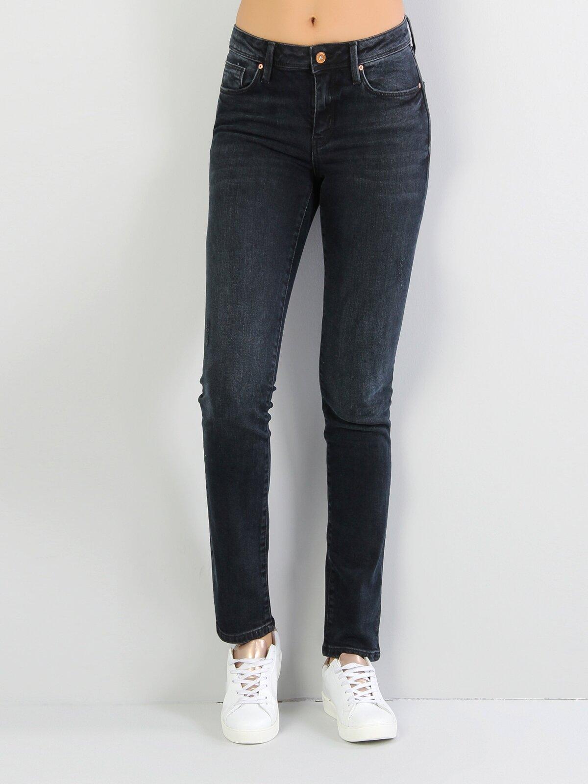 703 Carla Dar Kesim Orta Bel Düz Paça Siyah Jean Pantolon