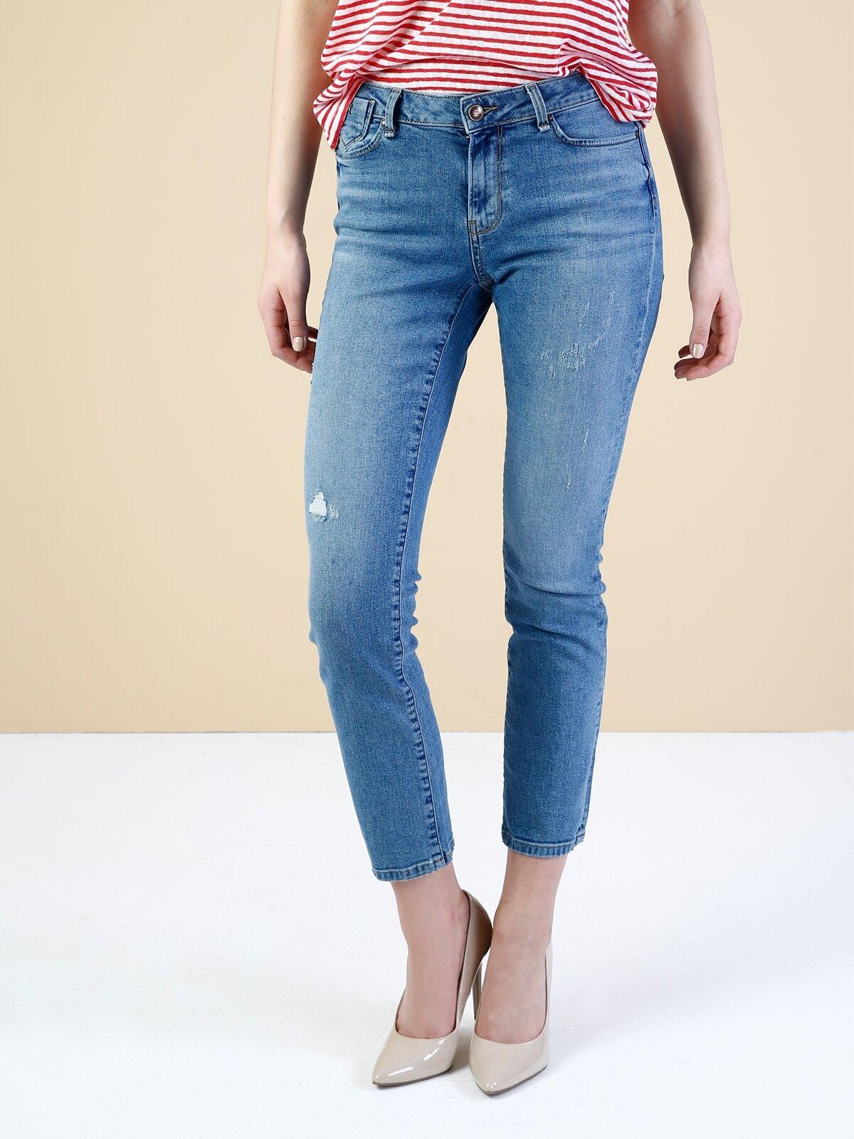 703 Carla Slim Fit Orta Bel Düz Paça Mavi Jean Pantolon