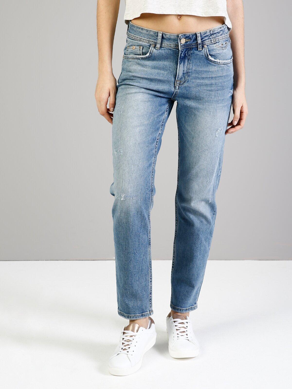891 Maya Slim Fit Yüksek Bel Kısa Paça Mavi Jean Pantolon