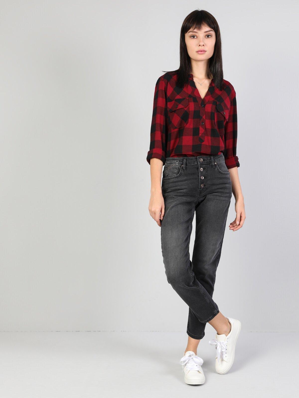 891 Maya Orta Bel Daralan Paça Slim Fit Gri Kadın Jean Pantolon
