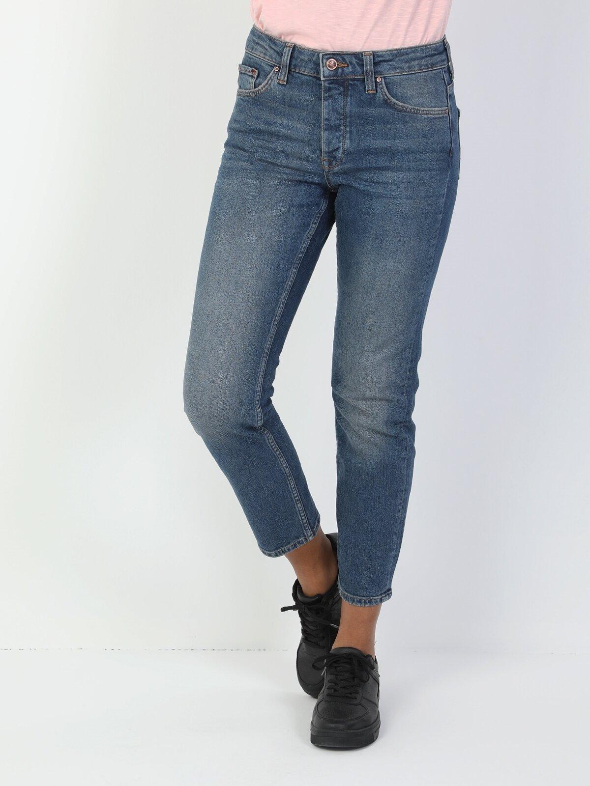 891 Maya Dar Kesim Normal Bel Daralan Paça Kadın Mavi Jean Pantolon