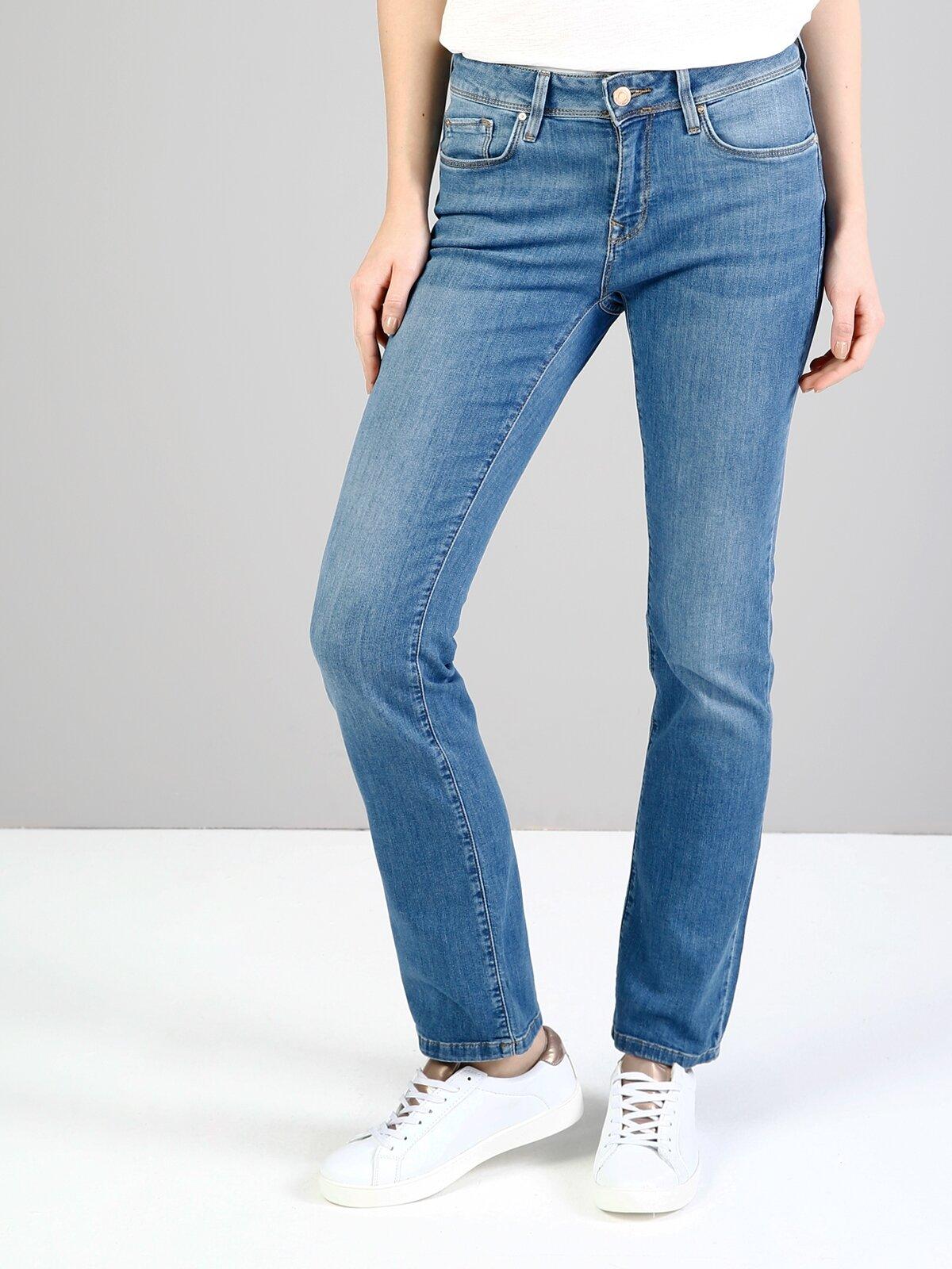 792 Mila Normal Kesim Orta Bel Düz Paça Mavi Jean Pantolon