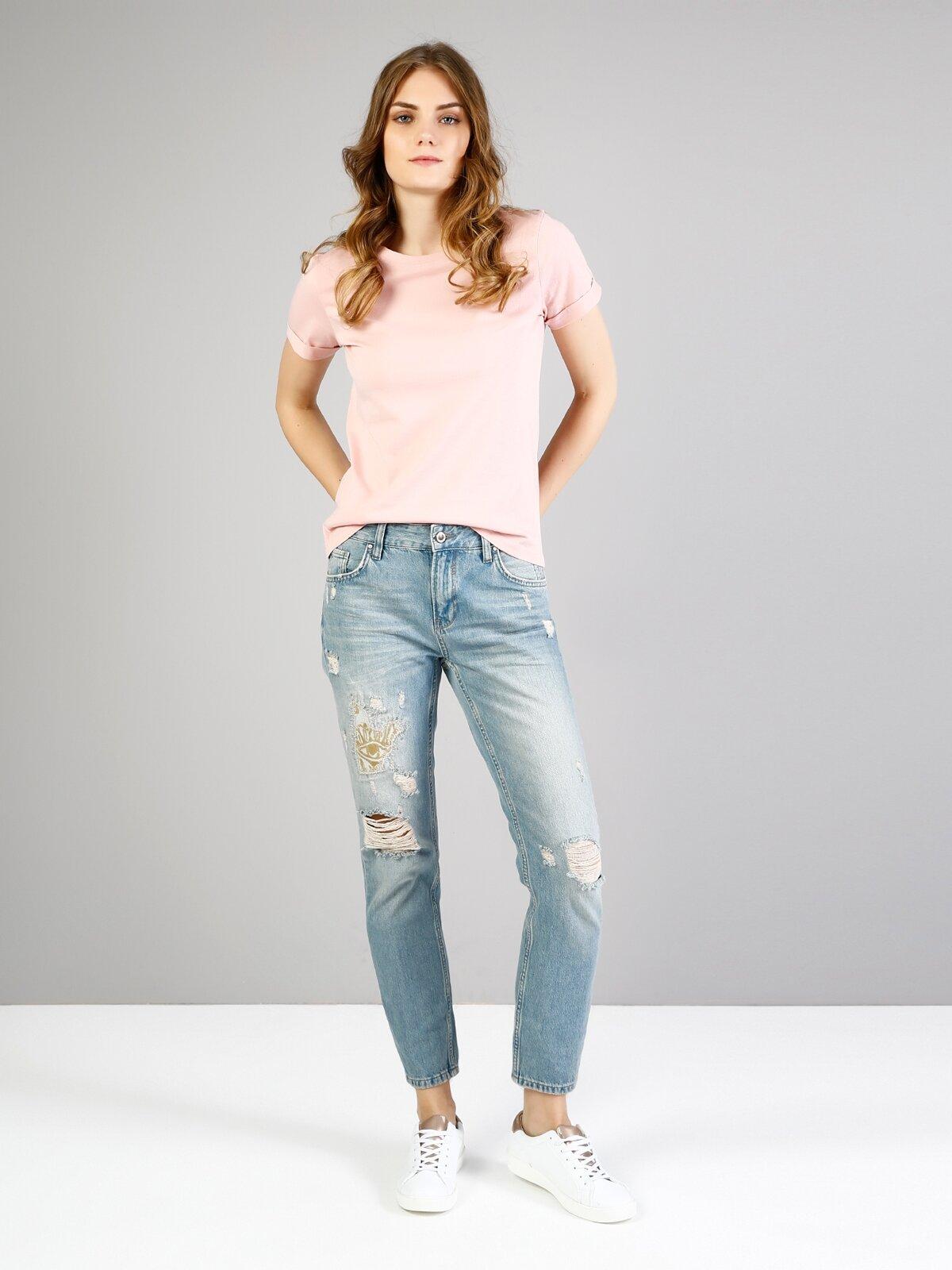 892 Alina Slim Fit Orta Bel Kısa Paça Mavi Jean Pantolon