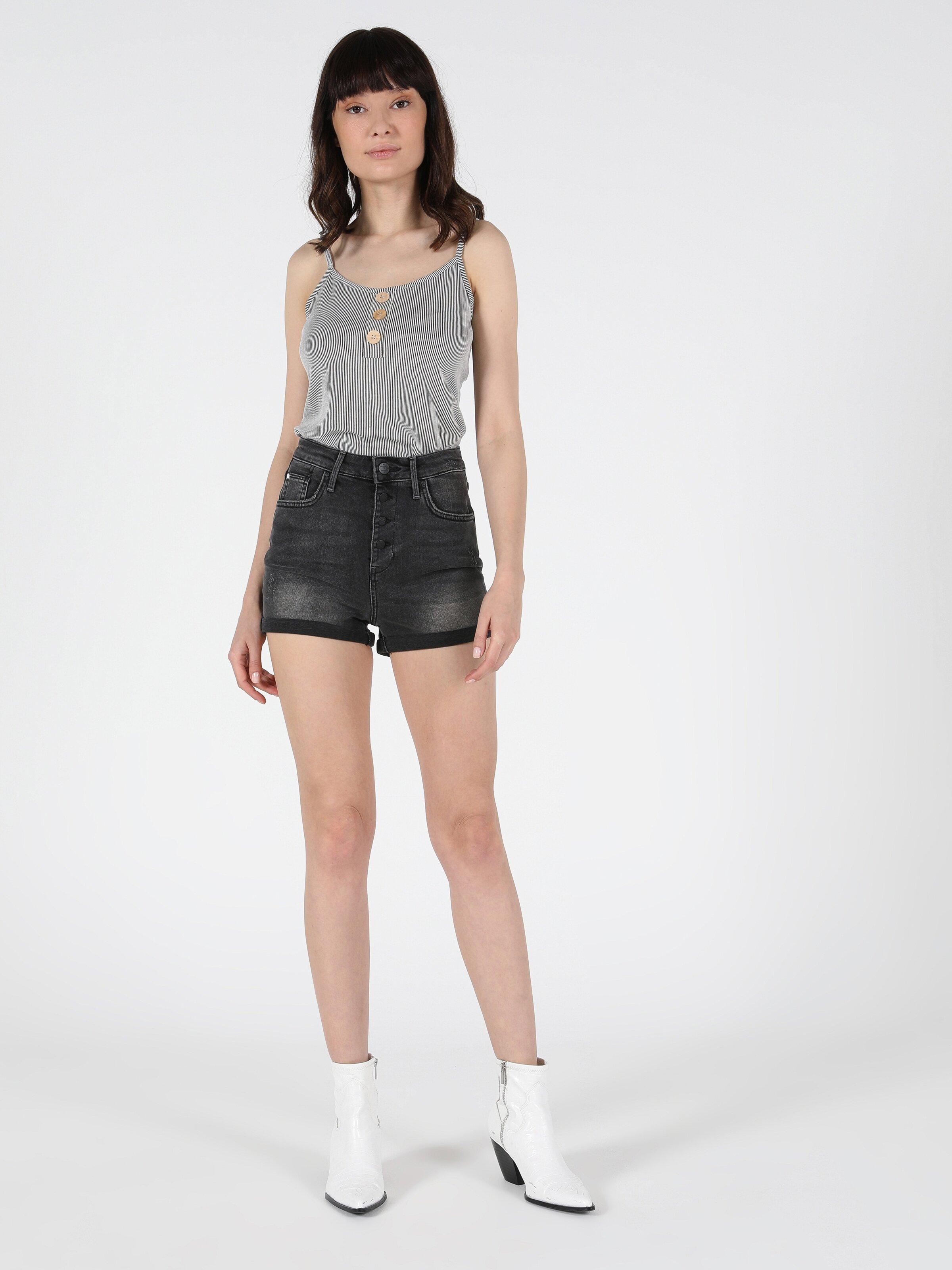 Yüksek Bel Kisa Super Slim Fit Jean Kadın Jean Şort