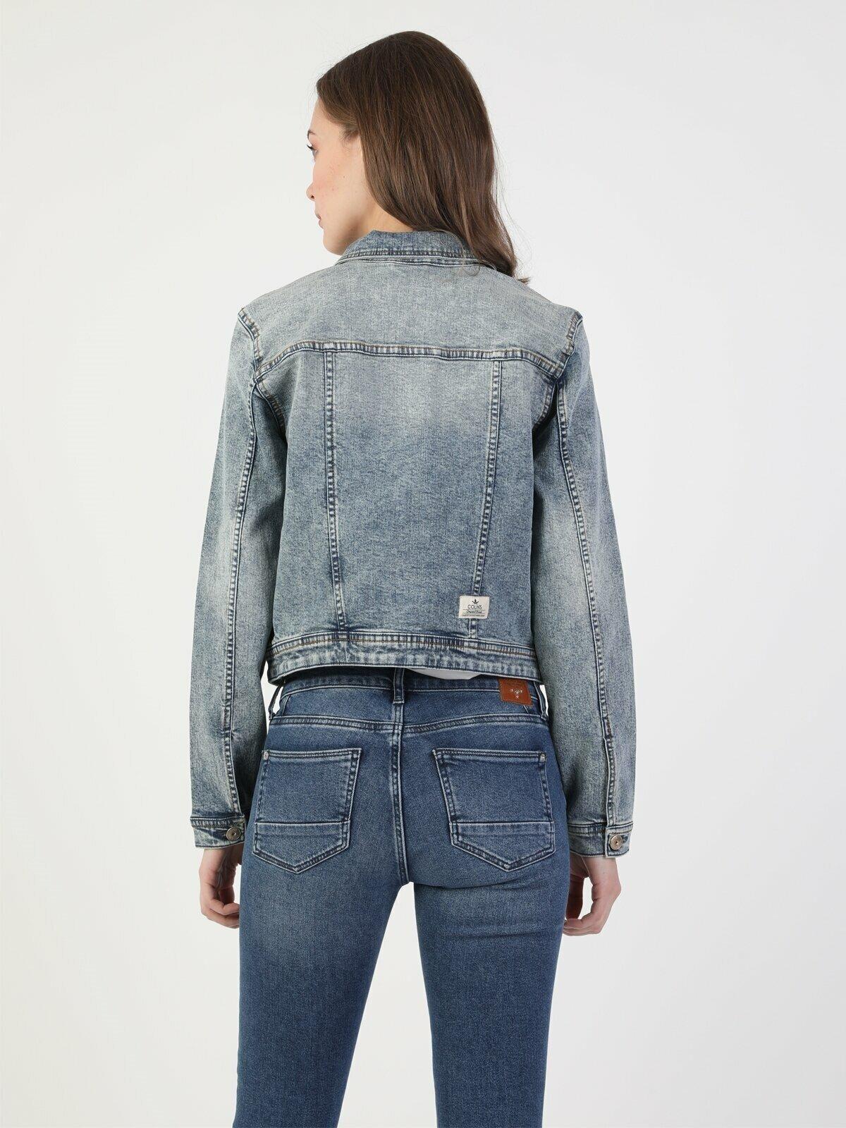 Slim Fit Kadın Jean Ceket