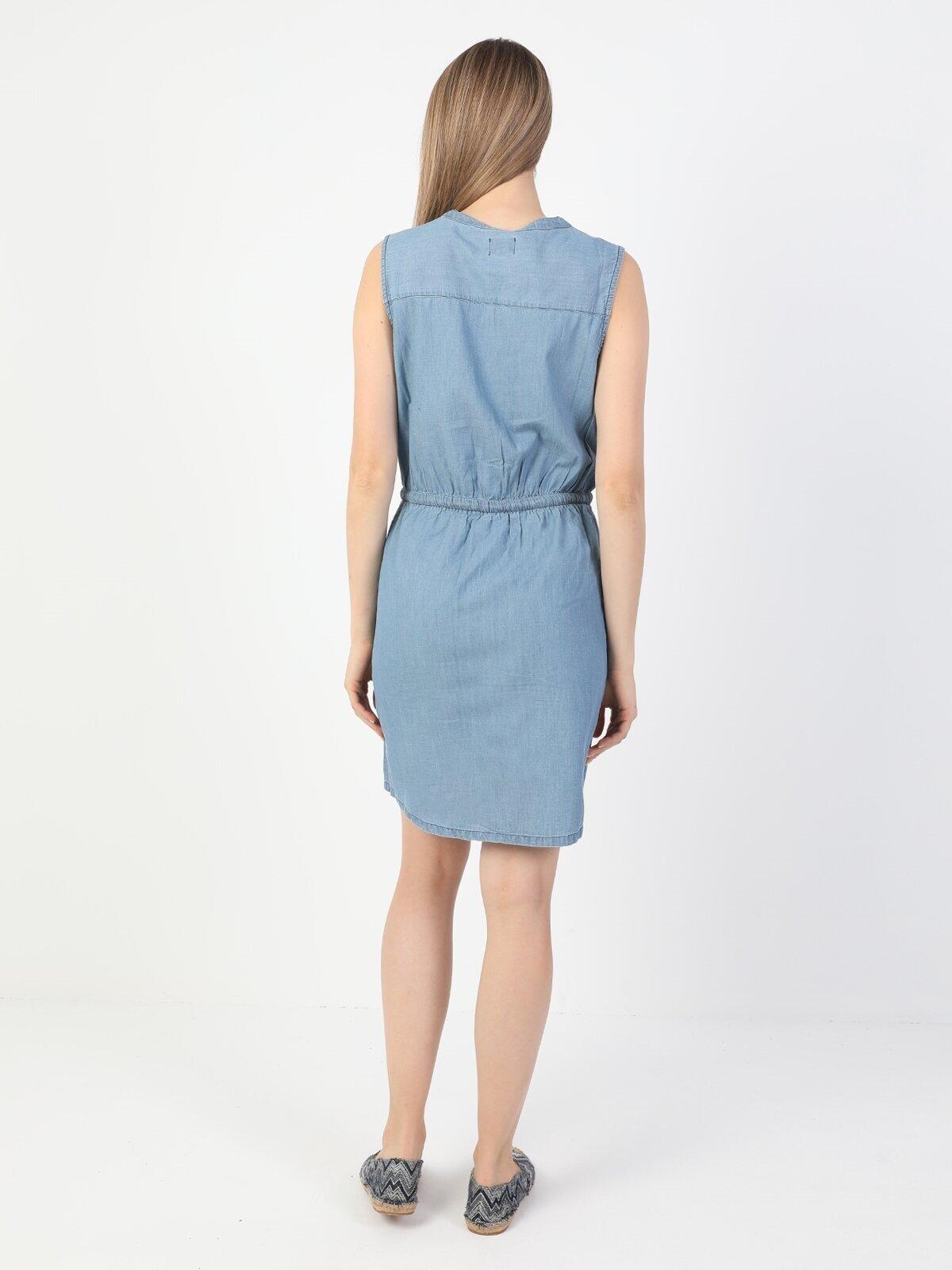 Regular Fit Kadın İndigo Jean Elbise