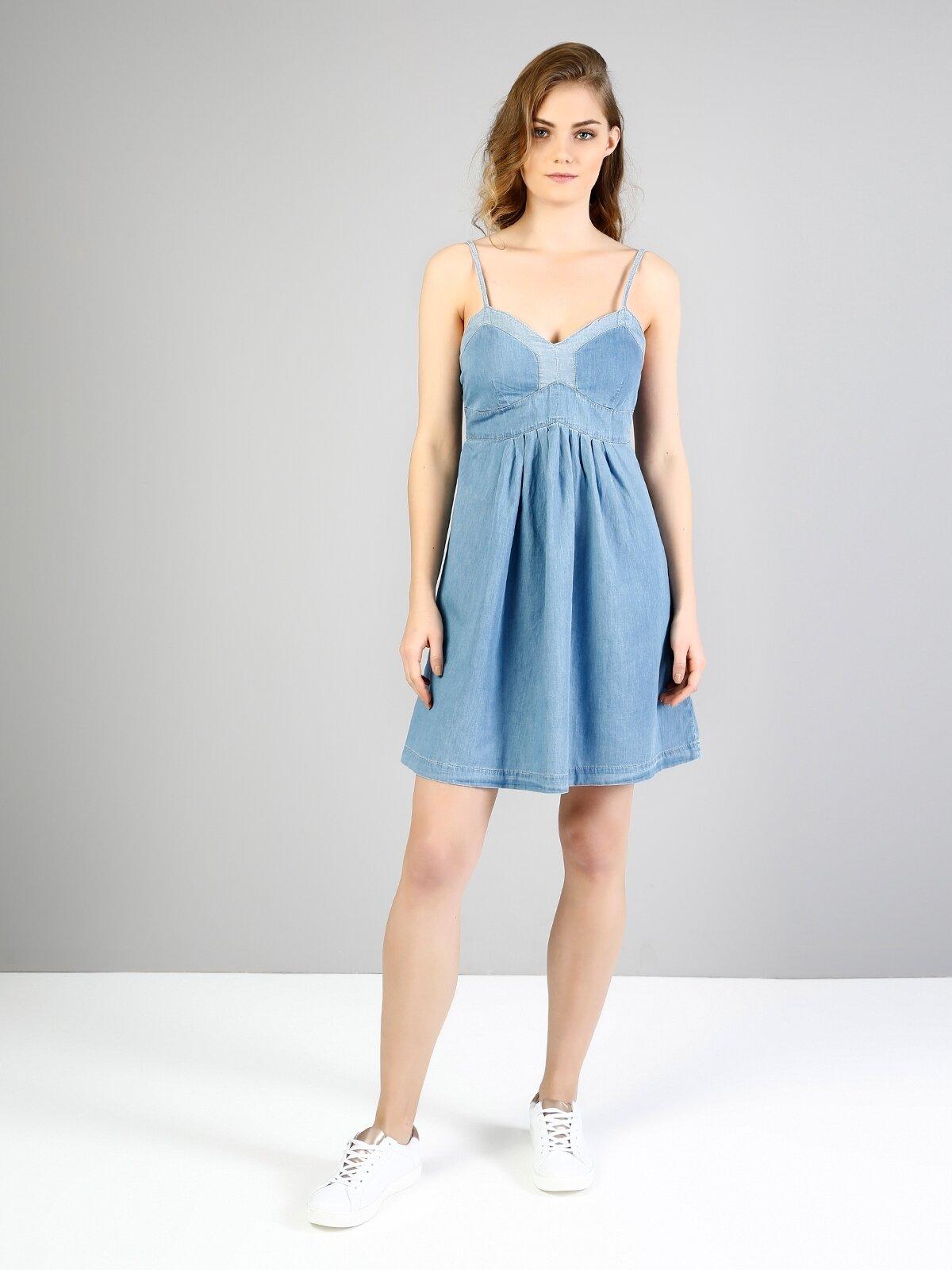 Mavi Derin Yuvarlak Yaka Diz Üstü Kolsuz Jean Elbise
