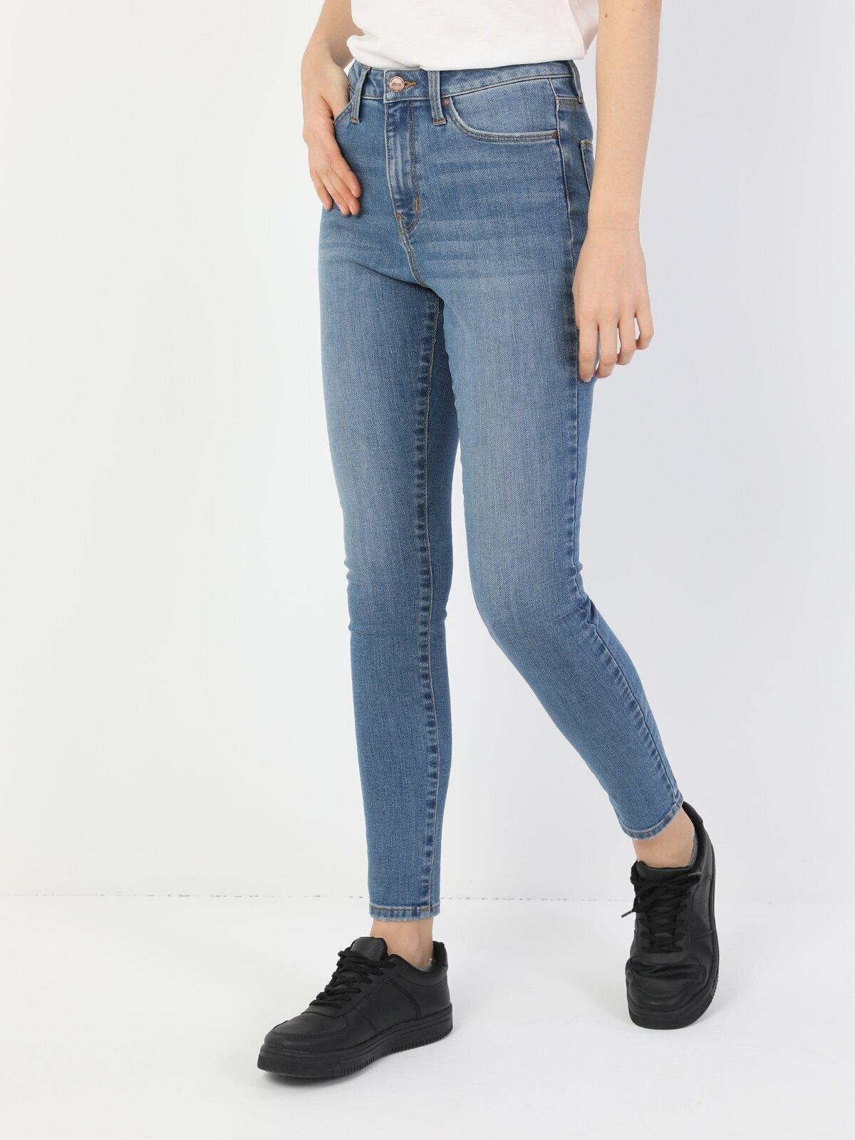 Süper Dar Kesim Yüksek Bel Süper Dar Paça Mavi Kadın Pantolon