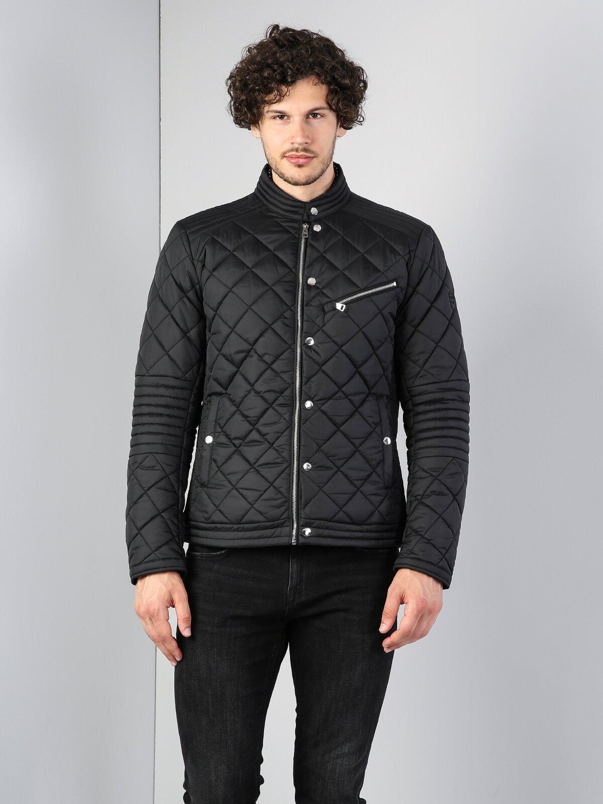 Dar Kesim Spor Yakasız Fermuarlı Siyah Ceket