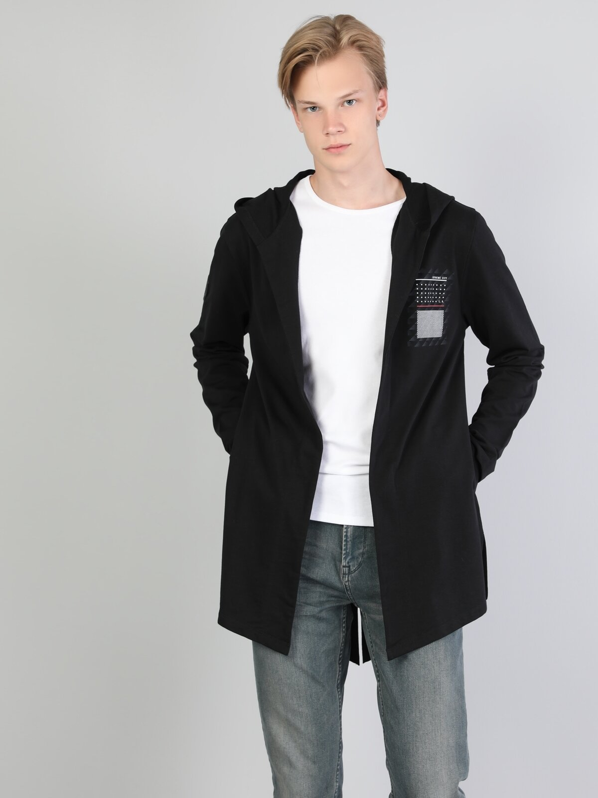 Long Fit  Erkek Siyah Ceket