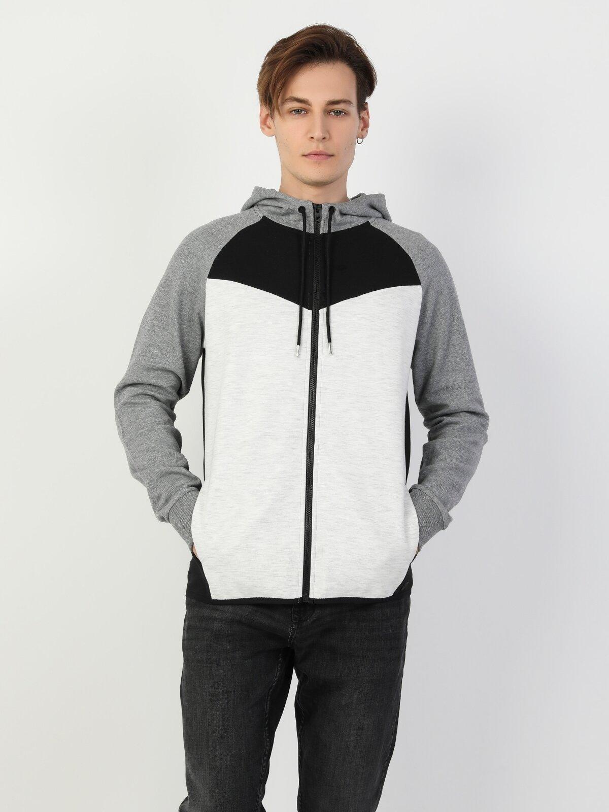 Slim Fit Erkek Gri Ceket