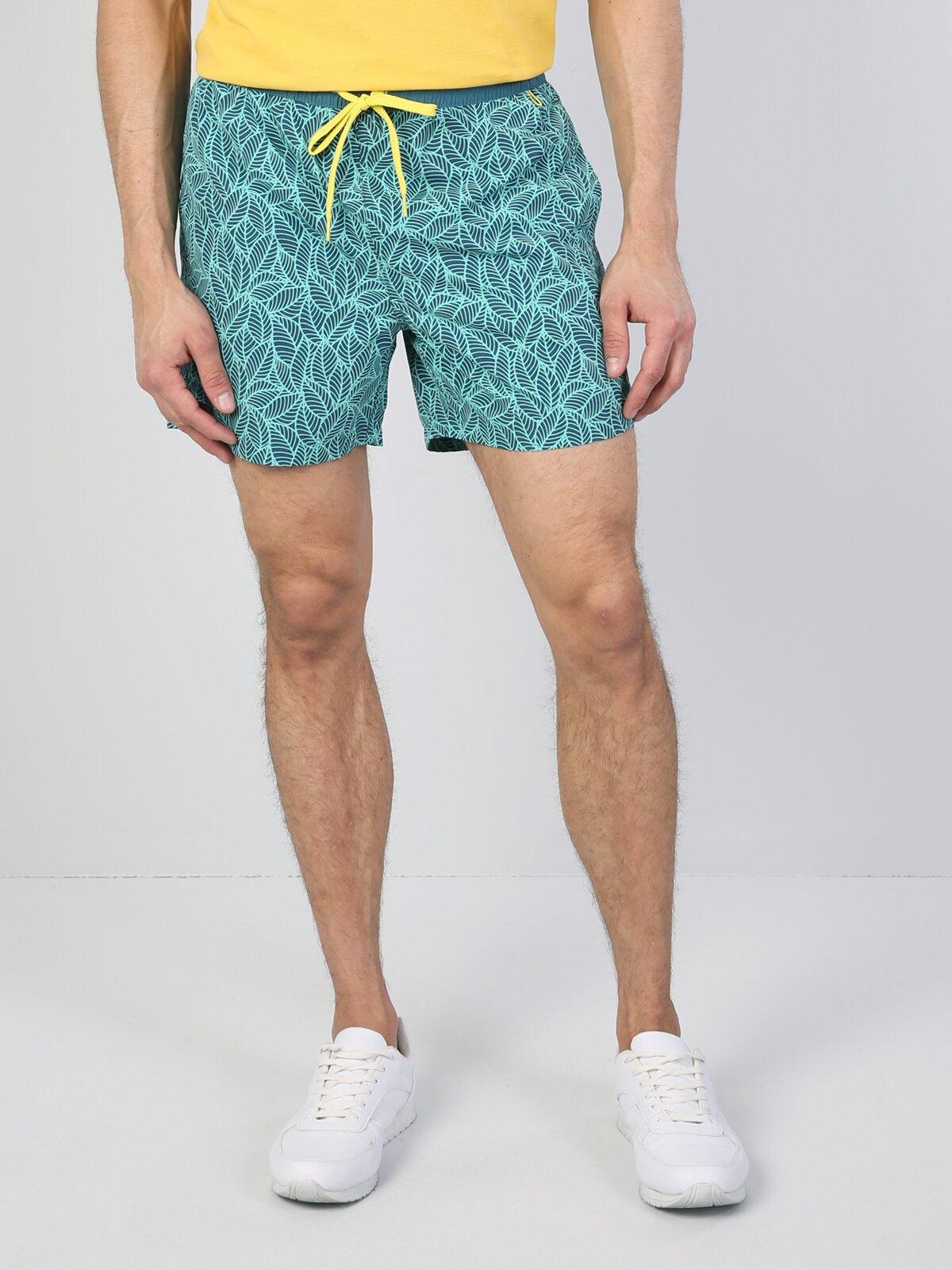 Yeşil Orta Bel Erkek Deniz Şortu