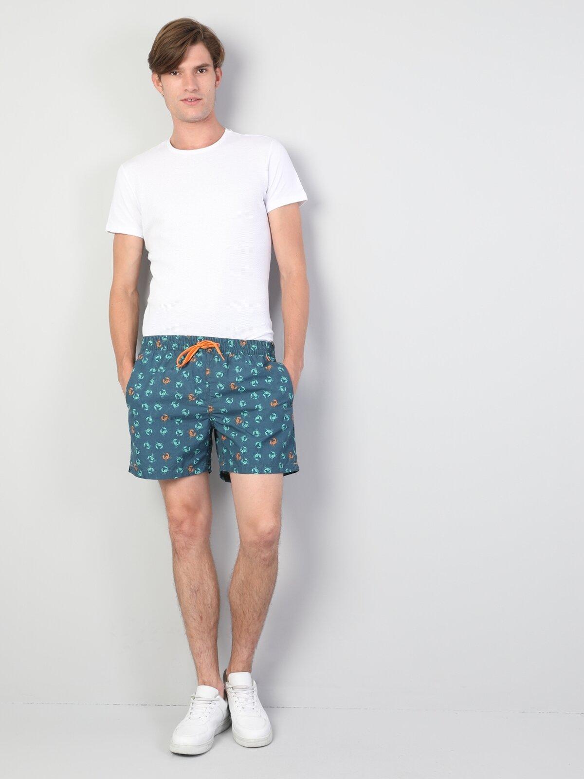 Slim Fit Orta Bel Erkek Lacivert Deniz Şortu