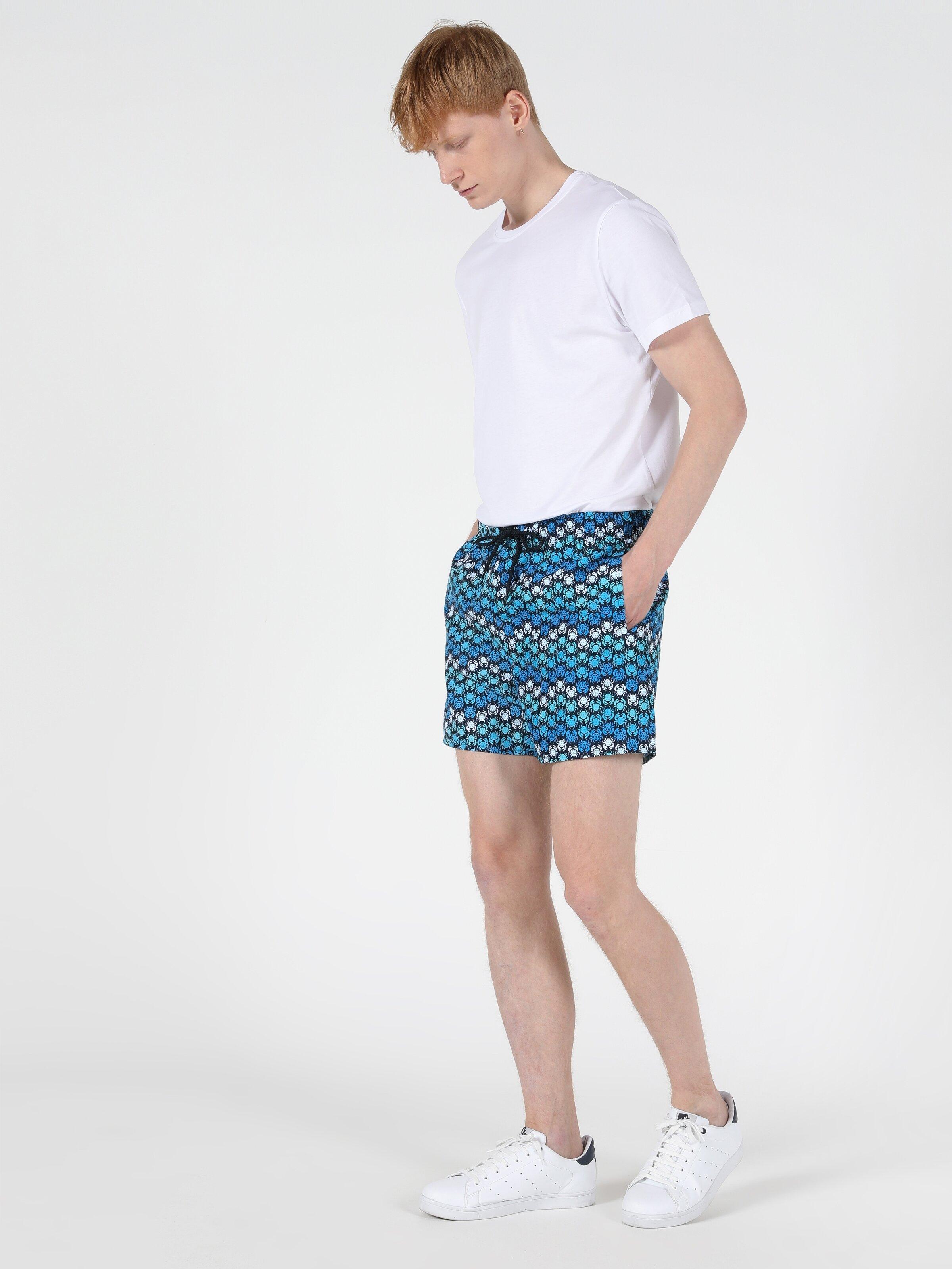 Slim Fit Orta Bel Erkek Mavi Deniz Şortu