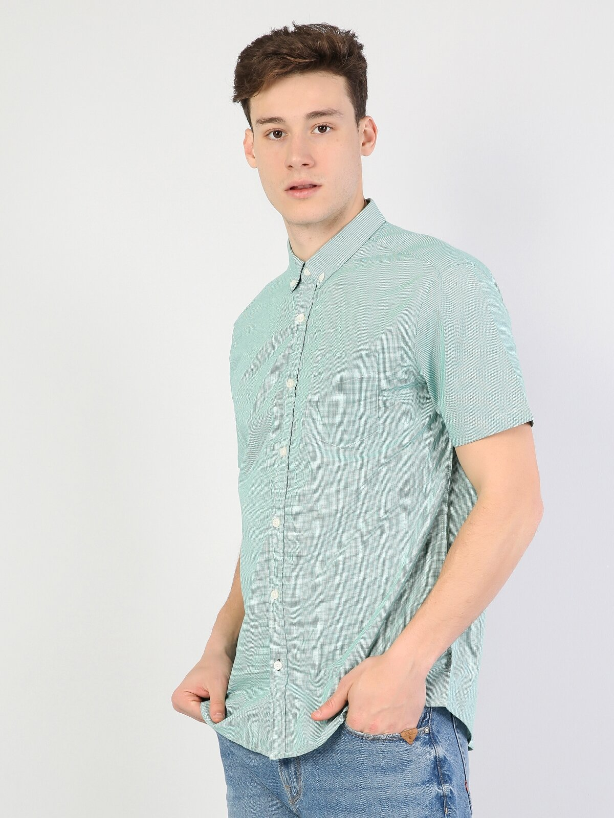 Regular Fit Yeşil Kısa Kol Erkek Oxford Gömlek