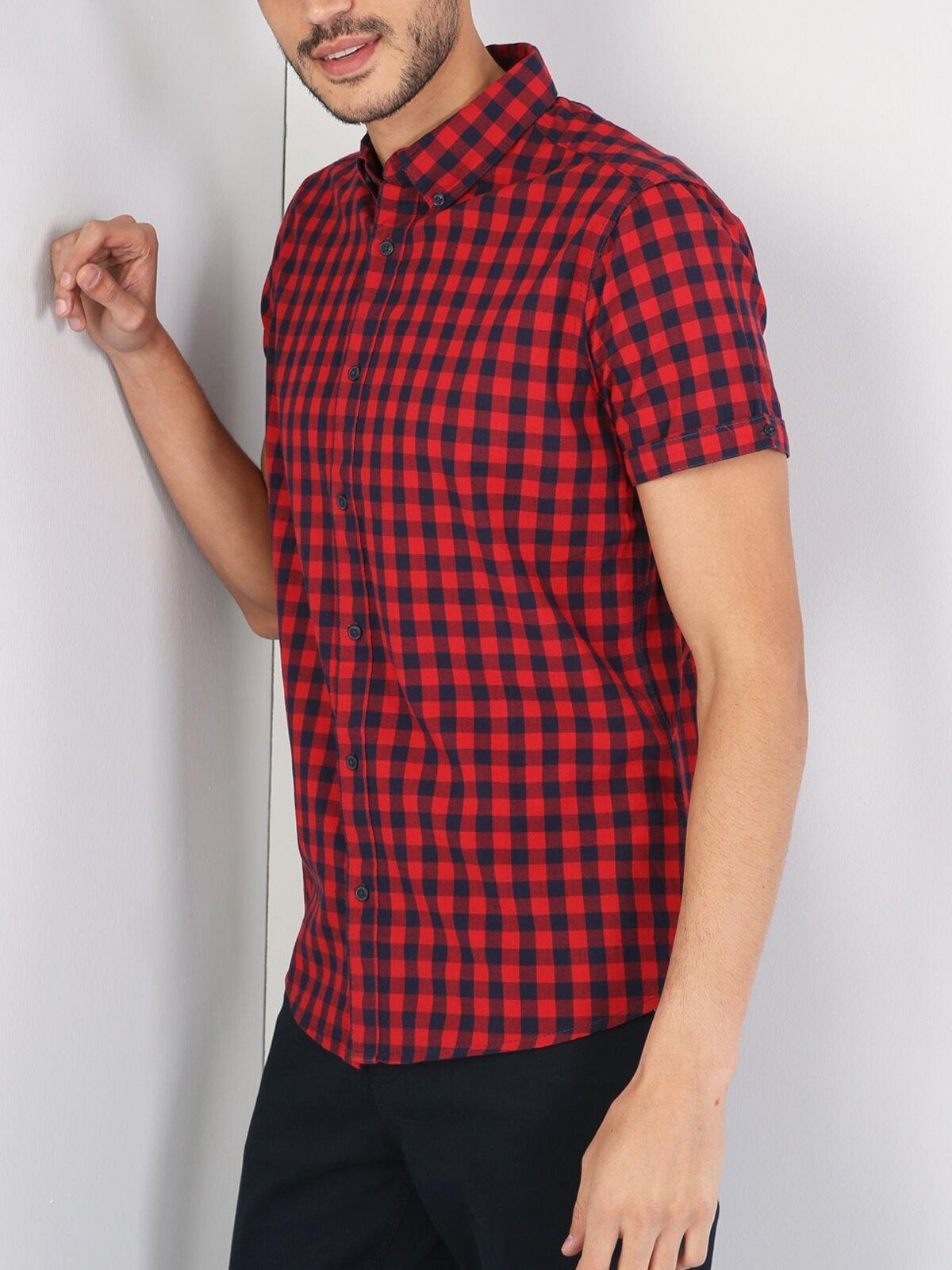 Kırmızı Kısa Kol Gömlek